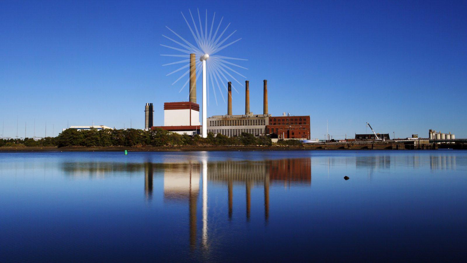 Massachusetts wind turbine and fossil plant.