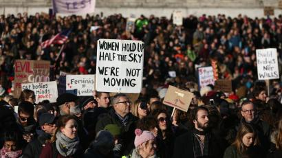 Protesters carrying banners take part in the Women's March on London, as they stand in Trafalgar Square, in central London, Britain January 21, 2017. The march formed part of a worldwide day of action following the election of Donald Trump to U.S. President. REUTERS/Neil Hall - RTSWOA2