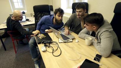workers at a startup
