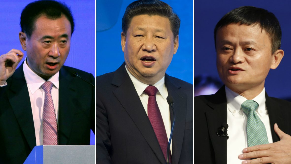 Wang Jianlin, chairman of the Dalian Wanda Group, speaks at a business event at the Bing theatre in Los Angeles, California U.S., October 17, 2016.  China's President Xi Jinping (L) delivers a speech in the Congress Hall on day one of the 47th Annual Meeting of the World Economic Forum (WEF) in Davos, Switzerland, 17 January 2017.  China's Jack Ma, Founder and Executive Chairman of Alibaba Group speaks during a panel session during the 47th annual meeting of the World Economic Forum, WEF, in Davos, Switzerland, 18 January 2017.