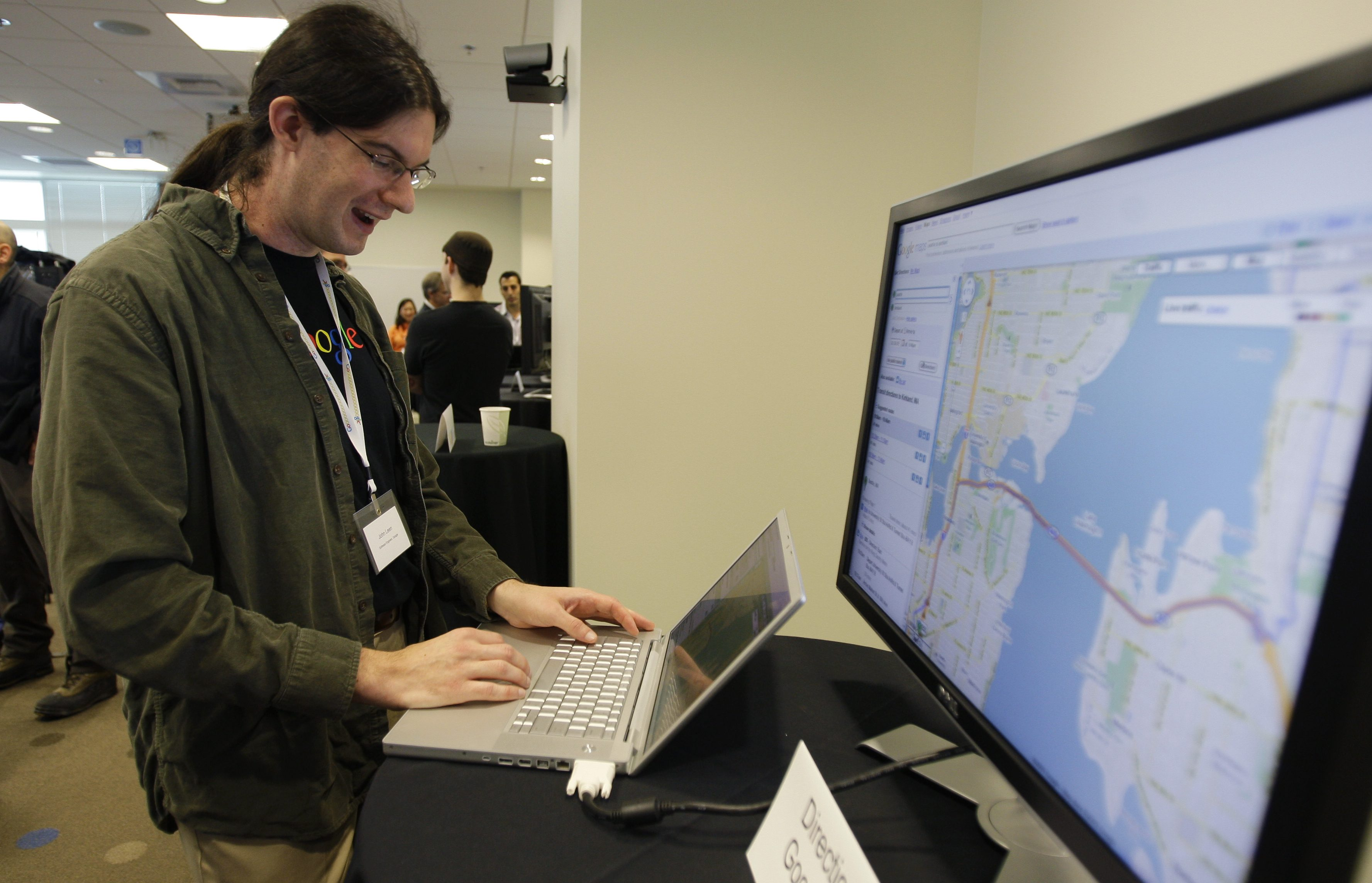 John Leen, a Google software engineer, demonstrates Google maps, at Google Inc.'s new campus in Kirkland, Wash., Wednesday, Oct. 28, 2009, during a media open house. More than 350 of Google's approximately 20,000 employees currently work in the Kirkland office. (AP Photo/Ted S. Warren)