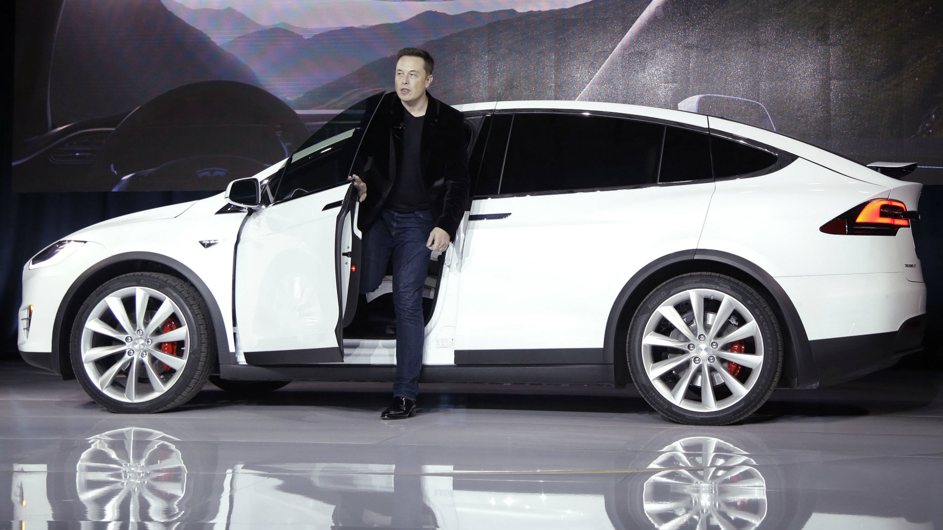 Elon Musk, CEO of Tesla Motors Inc., introduces the Model X car at the company's headquarters