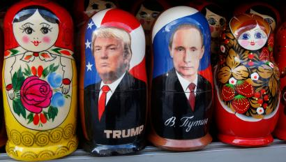 Traditional Russian wooden dolls called Matryoshka depicting Russian President Vladimir Putin and Donald Trump