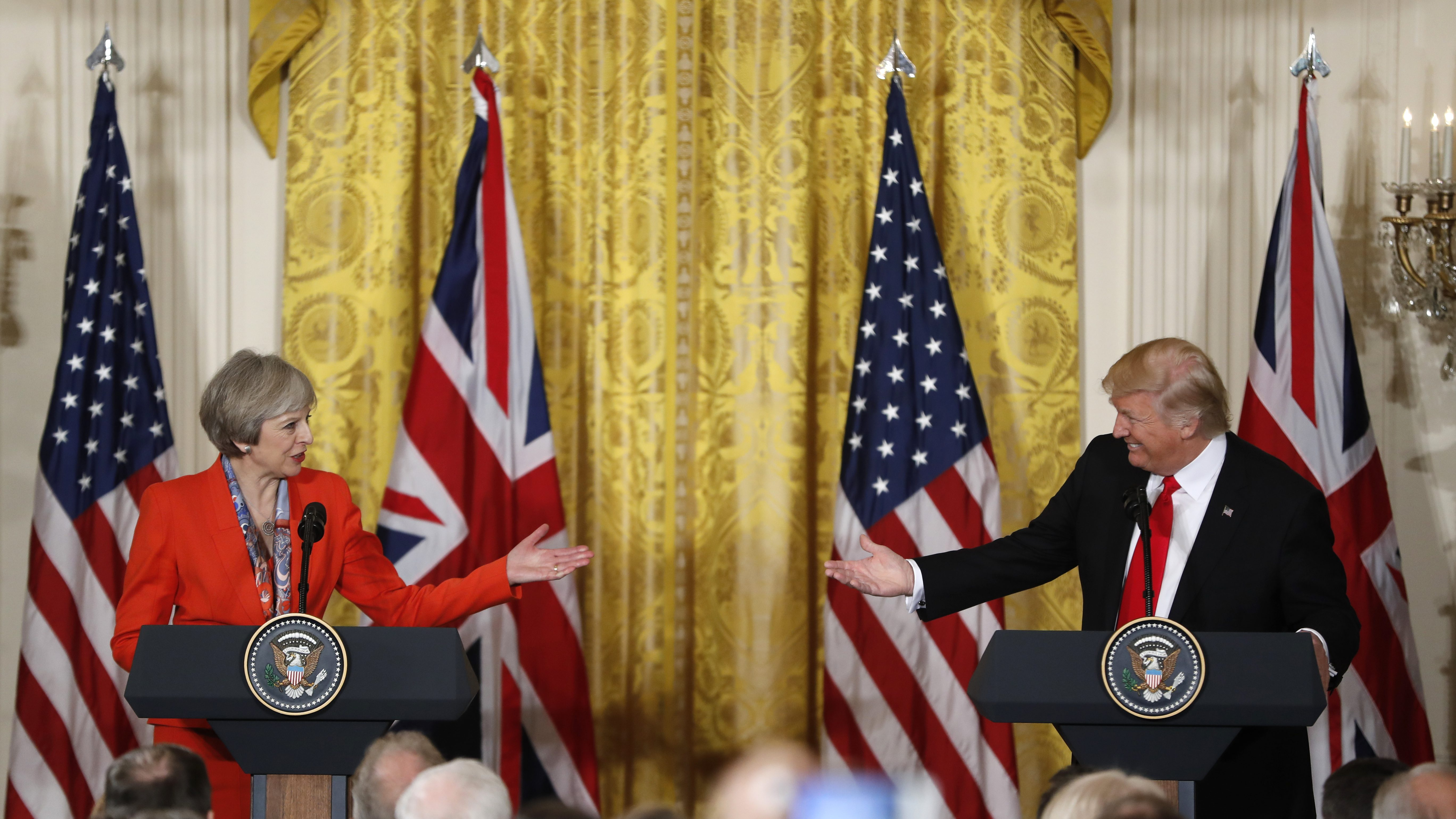 President Donald Trump and British Prime Minister Theresa May participate in a news conference in the East Room of the White House in Washington. (AP Photo/Pablo Martinez Monsivais)