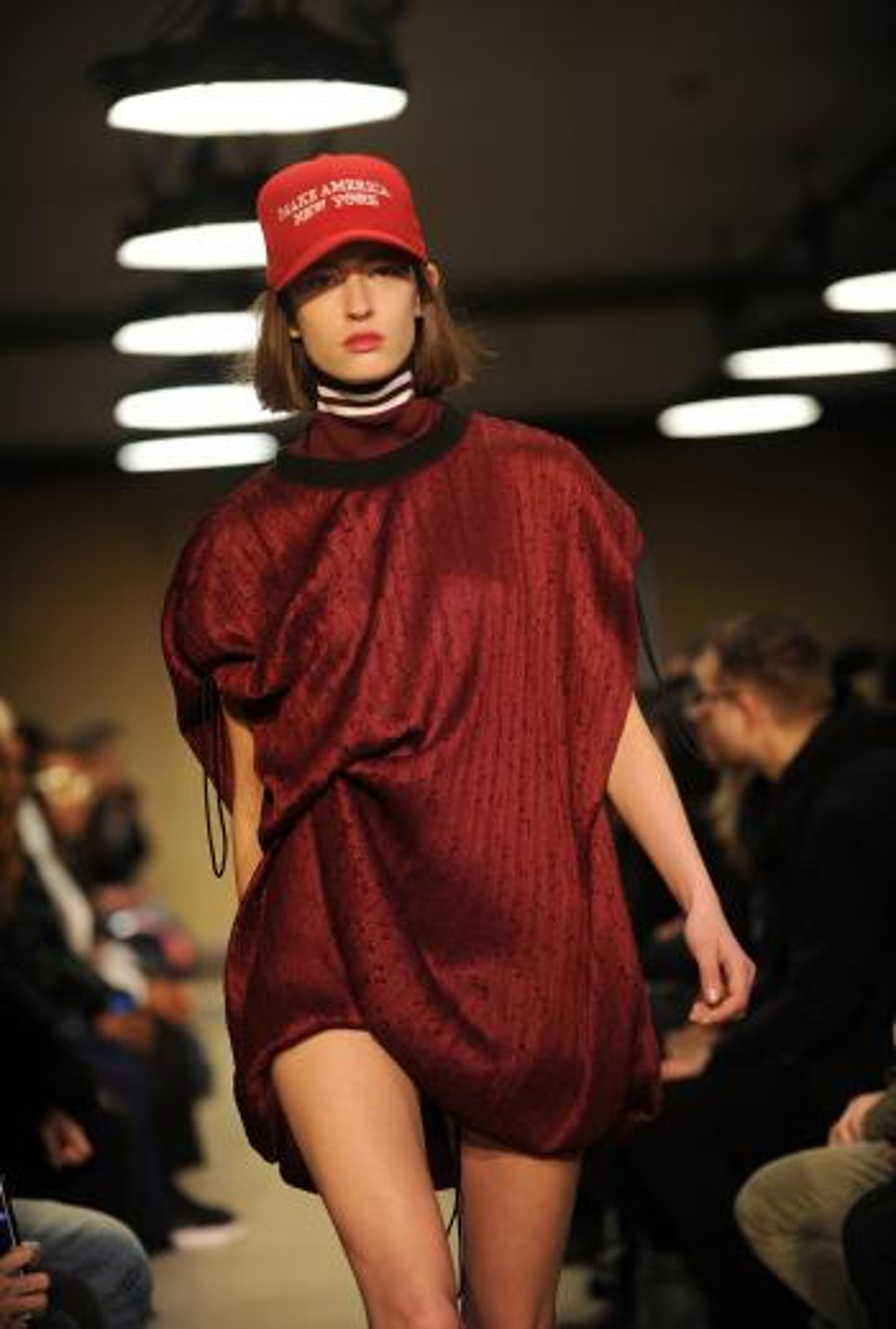 The Public School fashion collection is modeled during Fashion Week in New York, Sunday, Feb. 12, 2017. (AP Photo/Diane Bondareff)