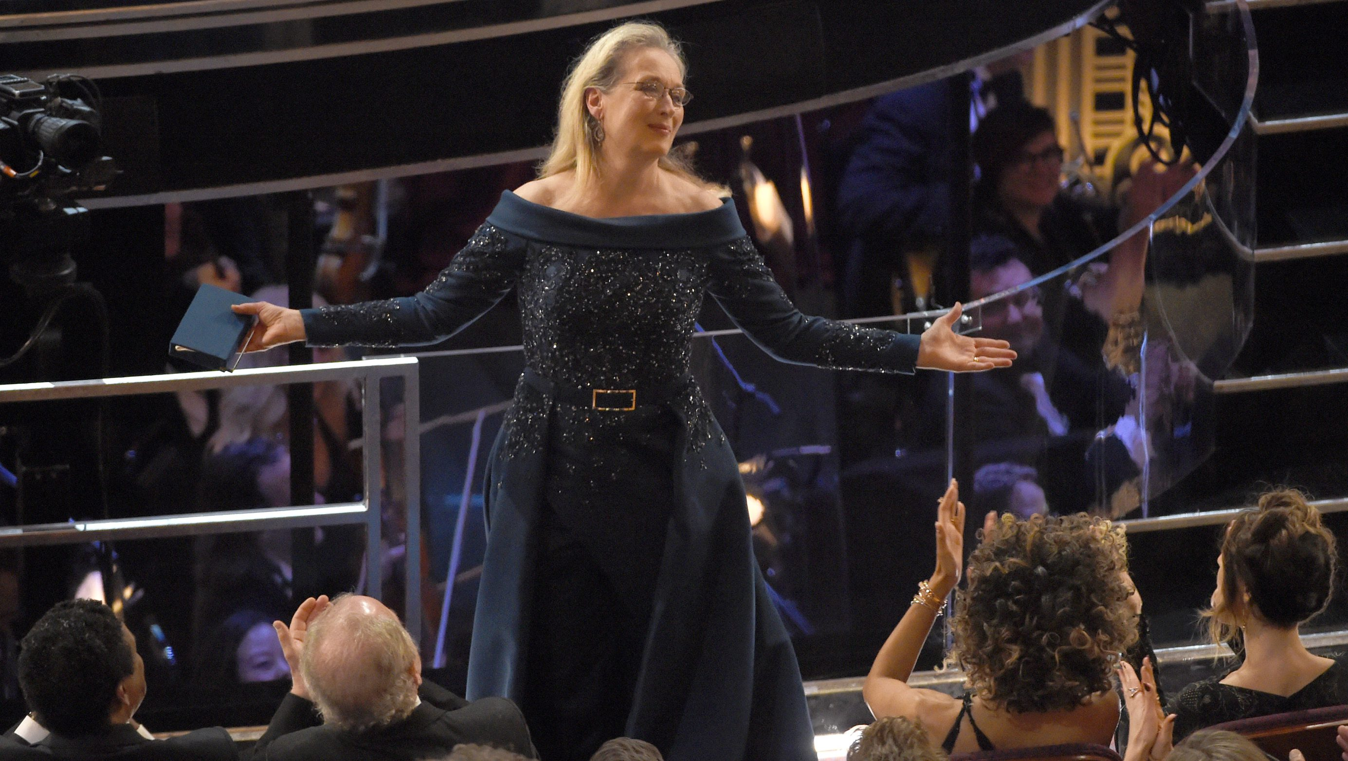 Meryl Streep stands for applause at the Oscars on Sunday, Feb. 26, 2017, at the Dolby Theatre in Los Angeles. (Photo by Chris Pizzello/Invision/AP)