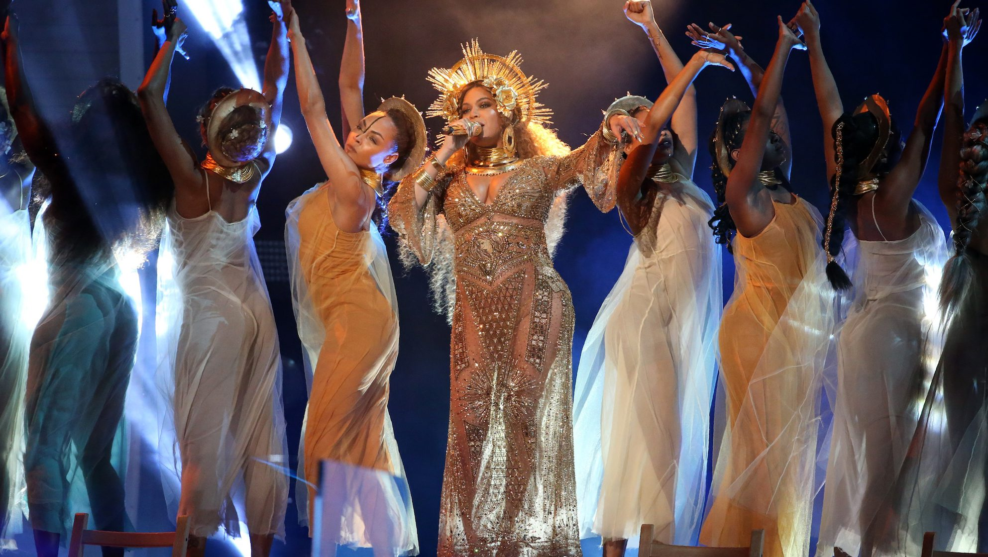 Beyonce performs at the 59th Annual Grammy Awards in Los Angeles, California, U.S.