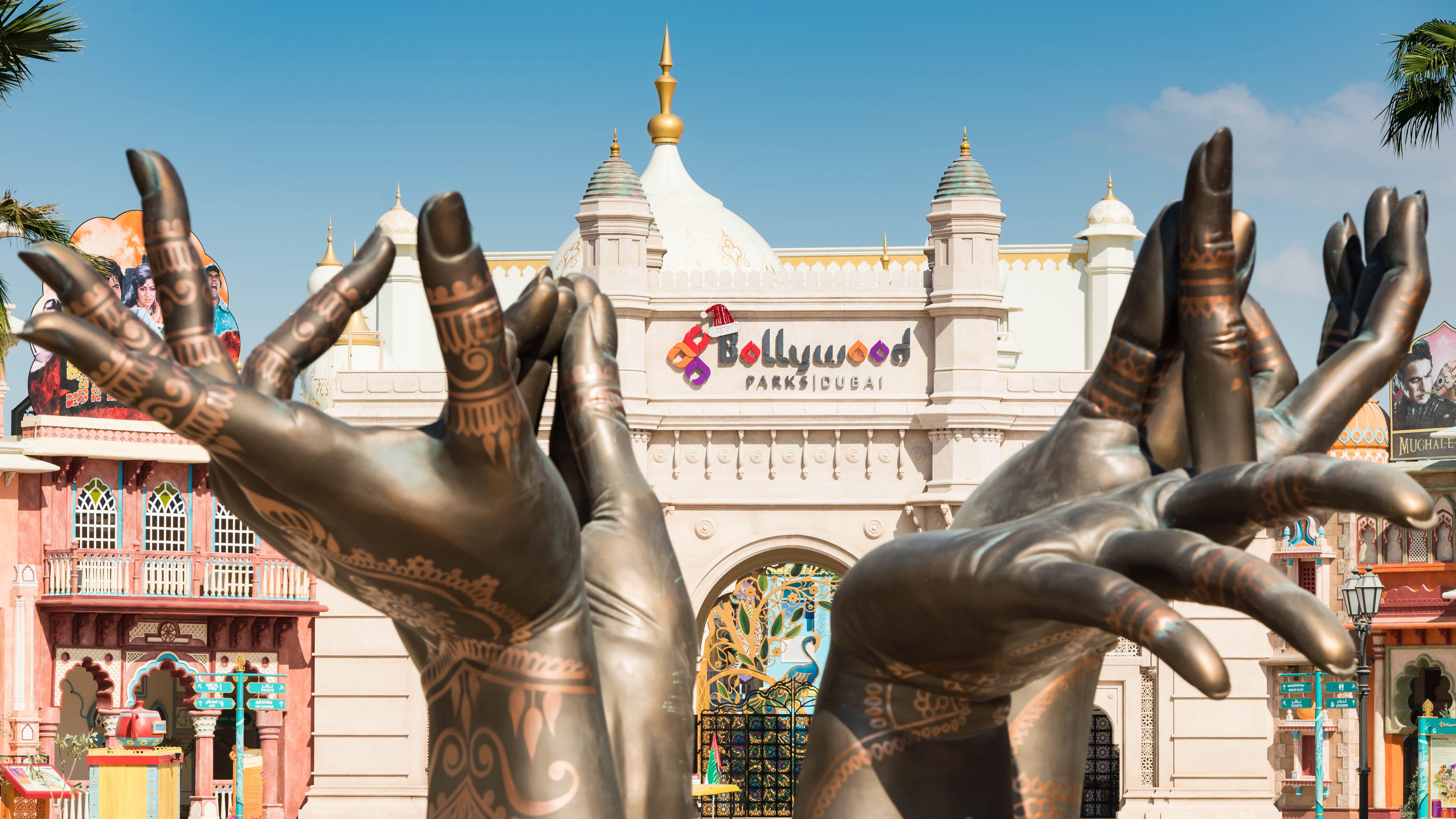 The gate of the Bollywood theme park in Dubai