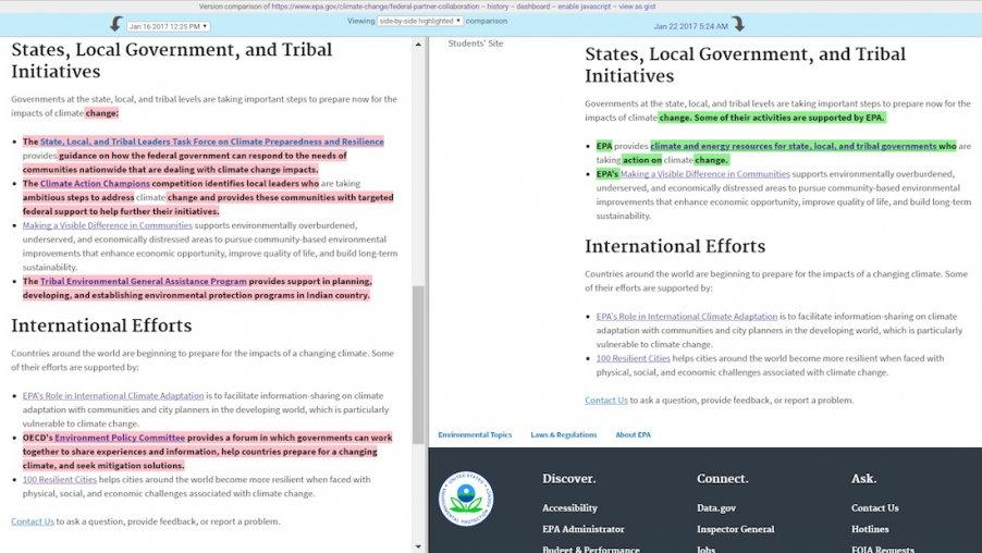 comparison of EPA website