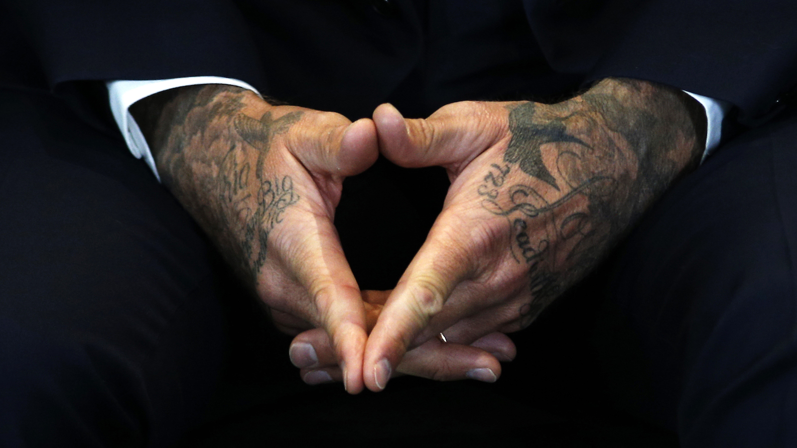 """David Beckham attends a press conference to mark his 10 years as a UNICEF Goodwill Ambassador, at Google's headquarters in central London, February 9, 2015. Beckham announced the launch of a new fund, """"7: David Beckham UNICEF Fund"""", named after his old shirt number.  REUTERS/Peter Nicholls (BRITAIN - Tags: ENTERTAINMENT SOCIETY SPORT SOCCER) - RTR4OU7P"""