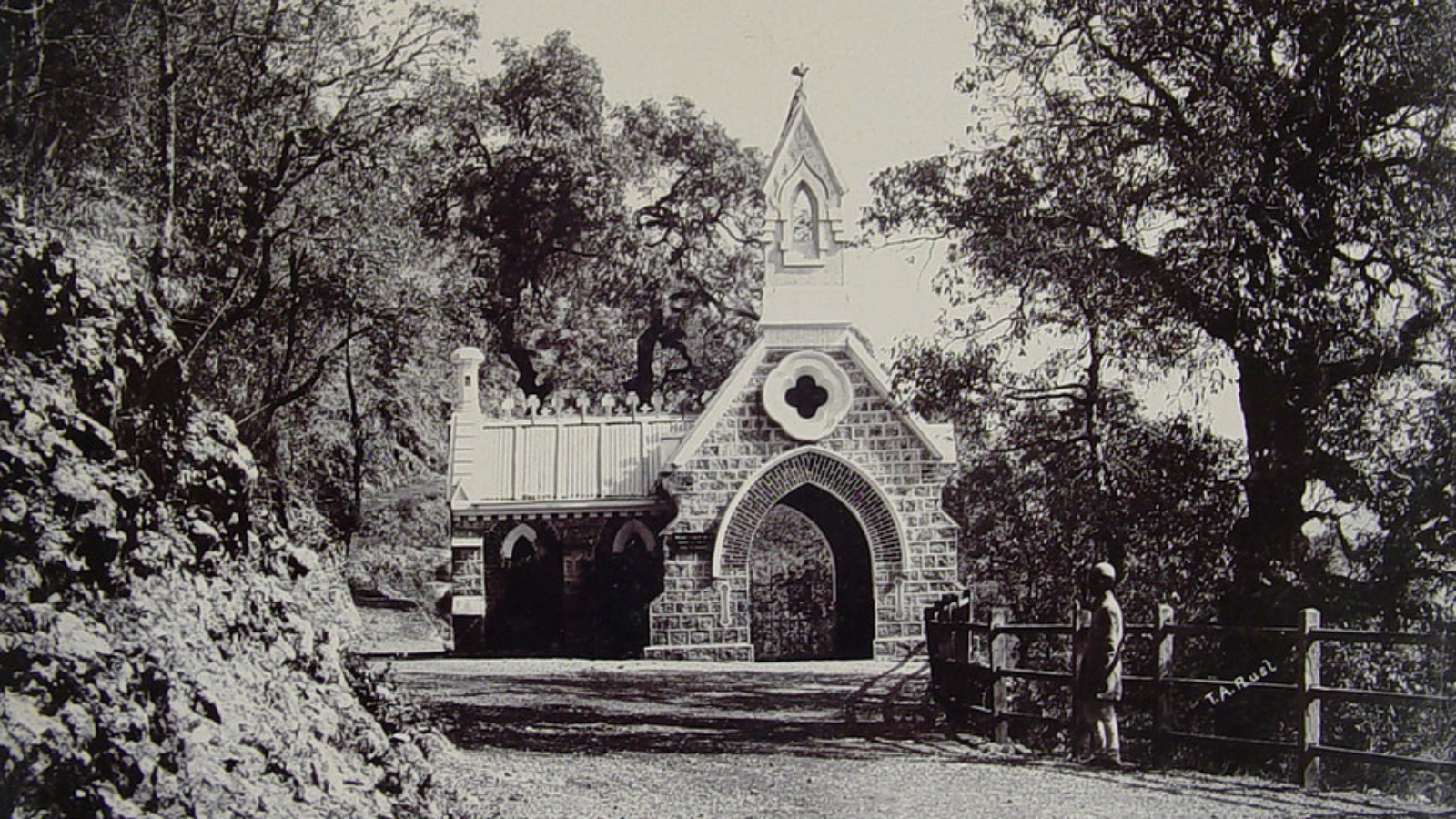 The lychgate of the Camel's Back Road Cemetery.