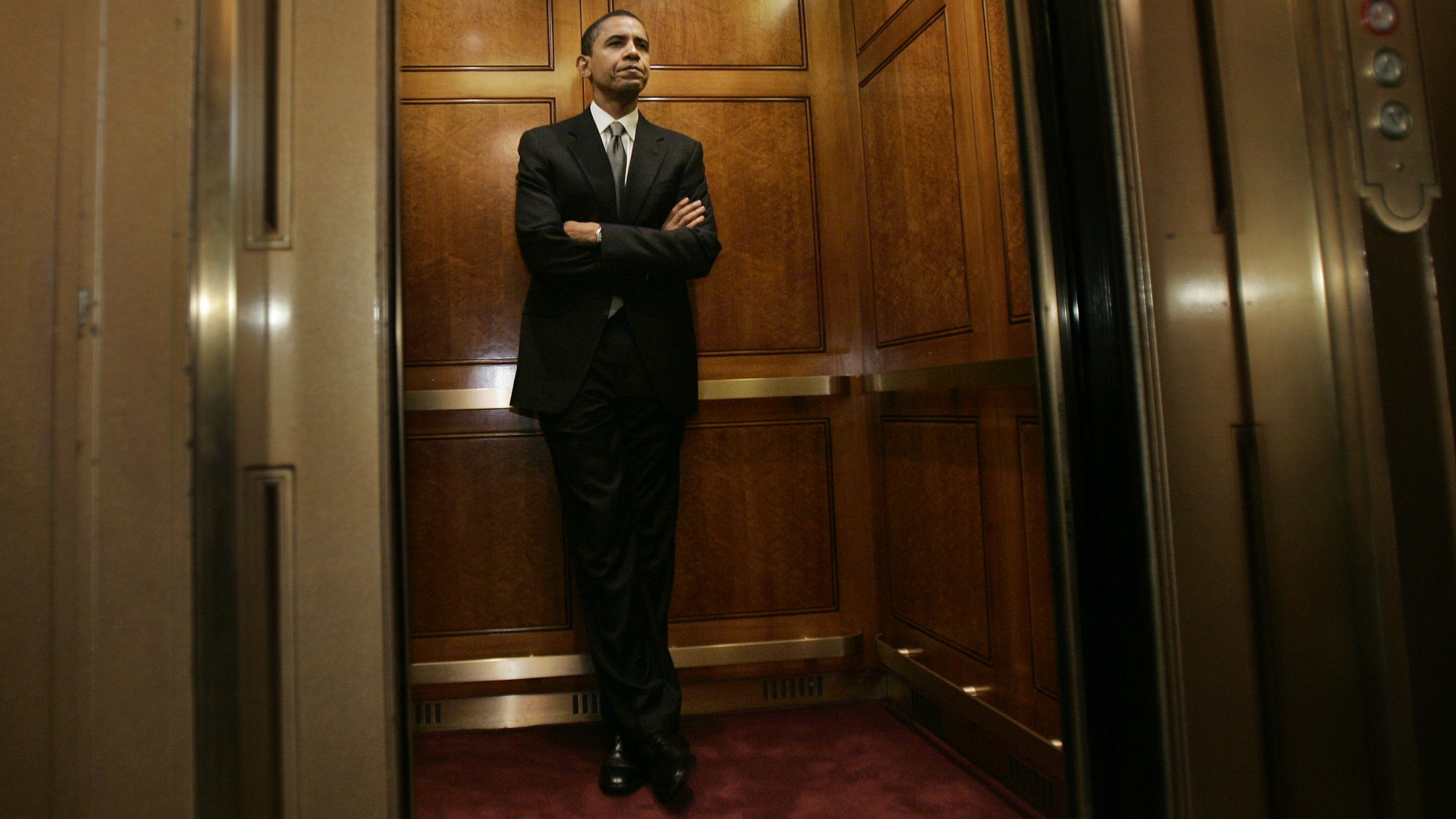 Sen. Barack Obama, D- Ill., stands in an elevator on Capitol Hill after casting his vote on the nomination of Samuel Alito, Jr., for Supreme Court Justice, Tuesday, Jan. 31, 2006. Alito was confirmed as the nation's 110th Supreme Court justice Tuesday with the most partisan victory in modern history after a fierce battle over the future direction of the high court. The Senate voted 58-42 to confirm Alito. (AP Photo/Susan Walsh)