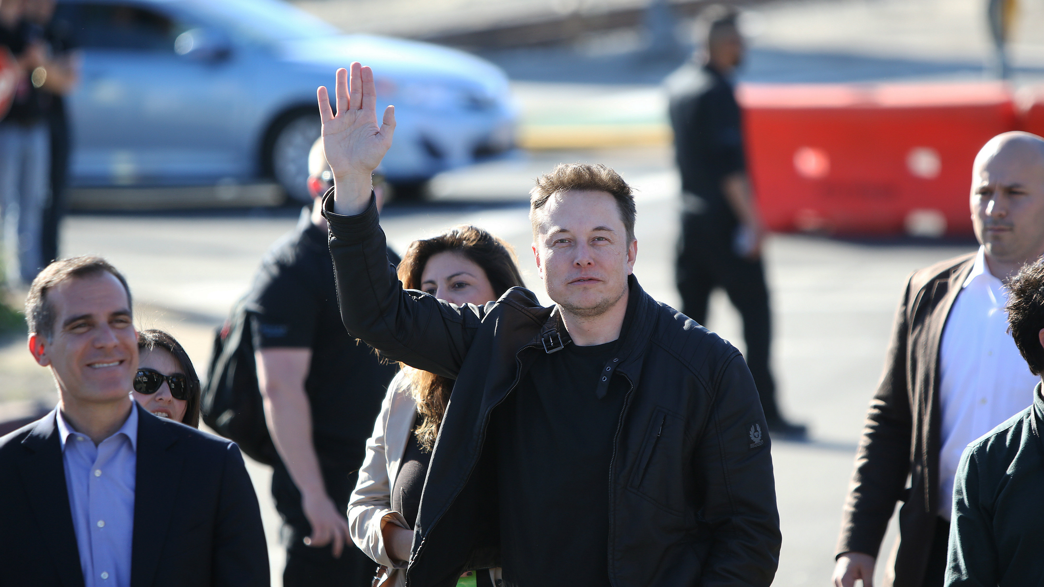 Elon Musk, founder and CEO of SpaceX arrives with Los Angeles Mayor Eric Garrett for the SpaceX Hyperloop Pod Competition in Hawthorne, Los Angeles, California, U.S., January 29, 2017.