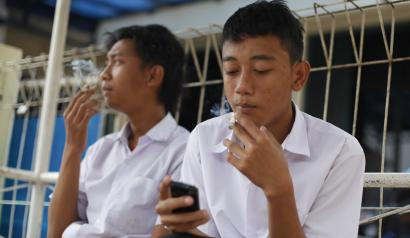 Indonesian Students Smoke Cigarettes During A School Break In Depok West Java Indonesia