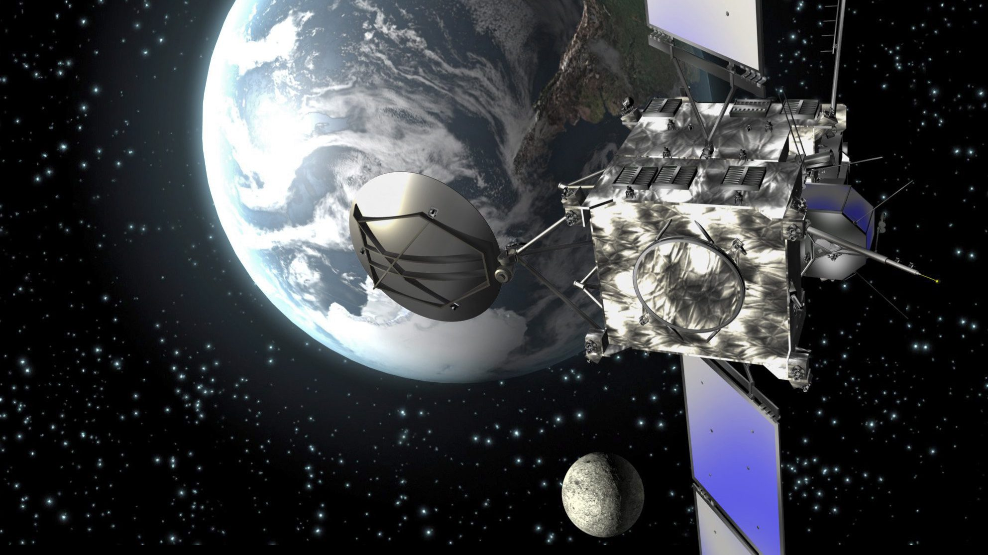 A European Space Agency computer animation shows the ESA satellite 'Rosetta' during its approach from earth.