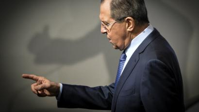 Russian Minister of Foreign Affairs Sergei Lavrov gestures during the 53rd Munich Security Conference in Munich