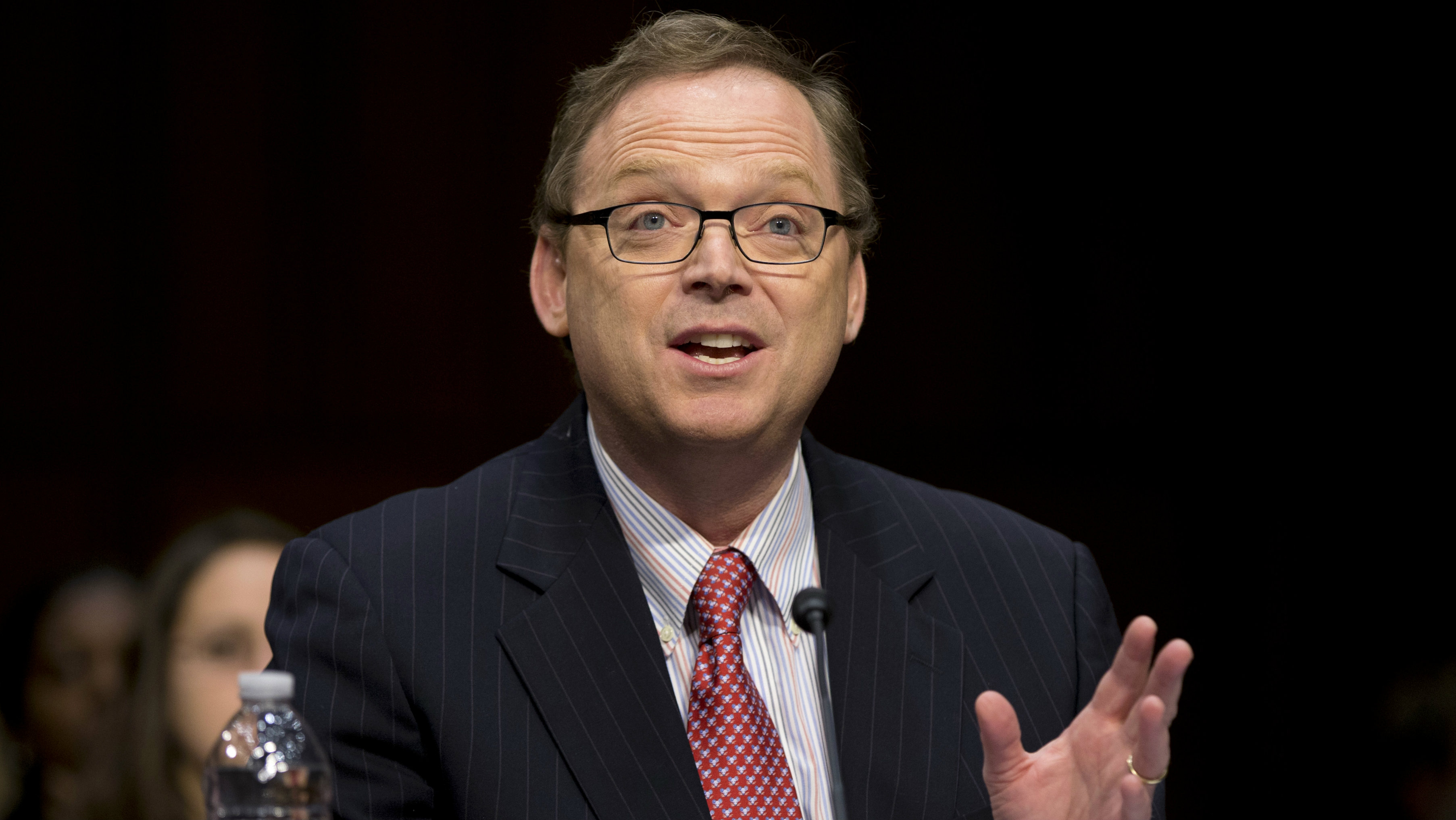 Kevin Hassett, senior fellow and director of Economic Policy at the American Enterprise Institute (AEI), gestures as he testifies on Capitol Hill in Washington.
