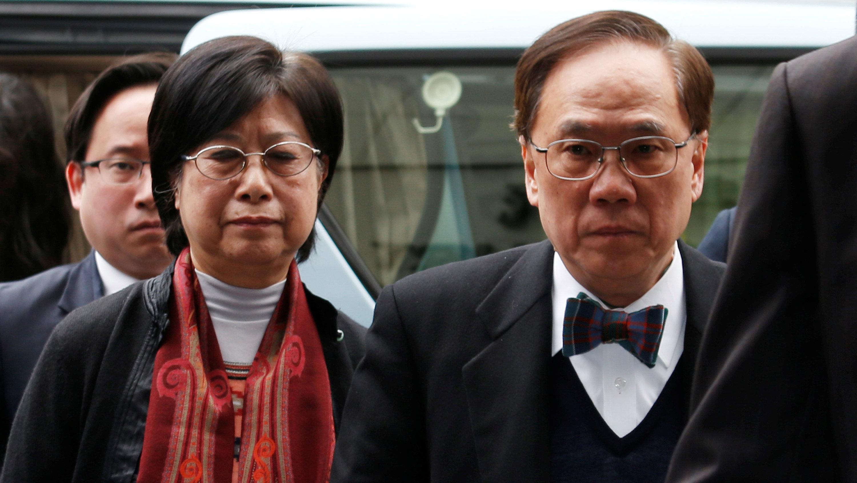 Former Hong Kong Chief Executive Donald Tsang, his wife Selina and son Thomas, arrive at the High Court in Hong Kong, China February