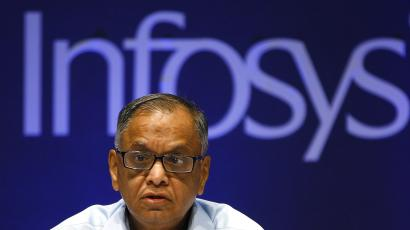 Infosys Chairman N. R. Narayana Murthy at a press conference