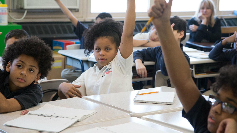 Manhattan Charter School kids in math class.