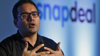 Bahl, co-founder of Indian online marketplace Snapdeal, gestures as he addresses the media during news conference in New Delhi