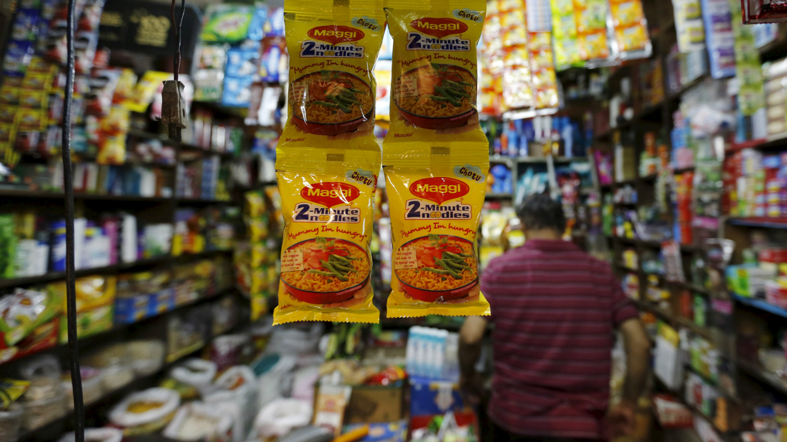 Packets of Maggi instant noodles are seen on display at a grocery store in Ahmedabad, India, June 3, 2015. India's food minister on Wednesday ordered safety checks on Nestle India's Maggi instant noodles after regional food inspectors said the test batches of the popular snack were found to contain dangerous levels of lead.