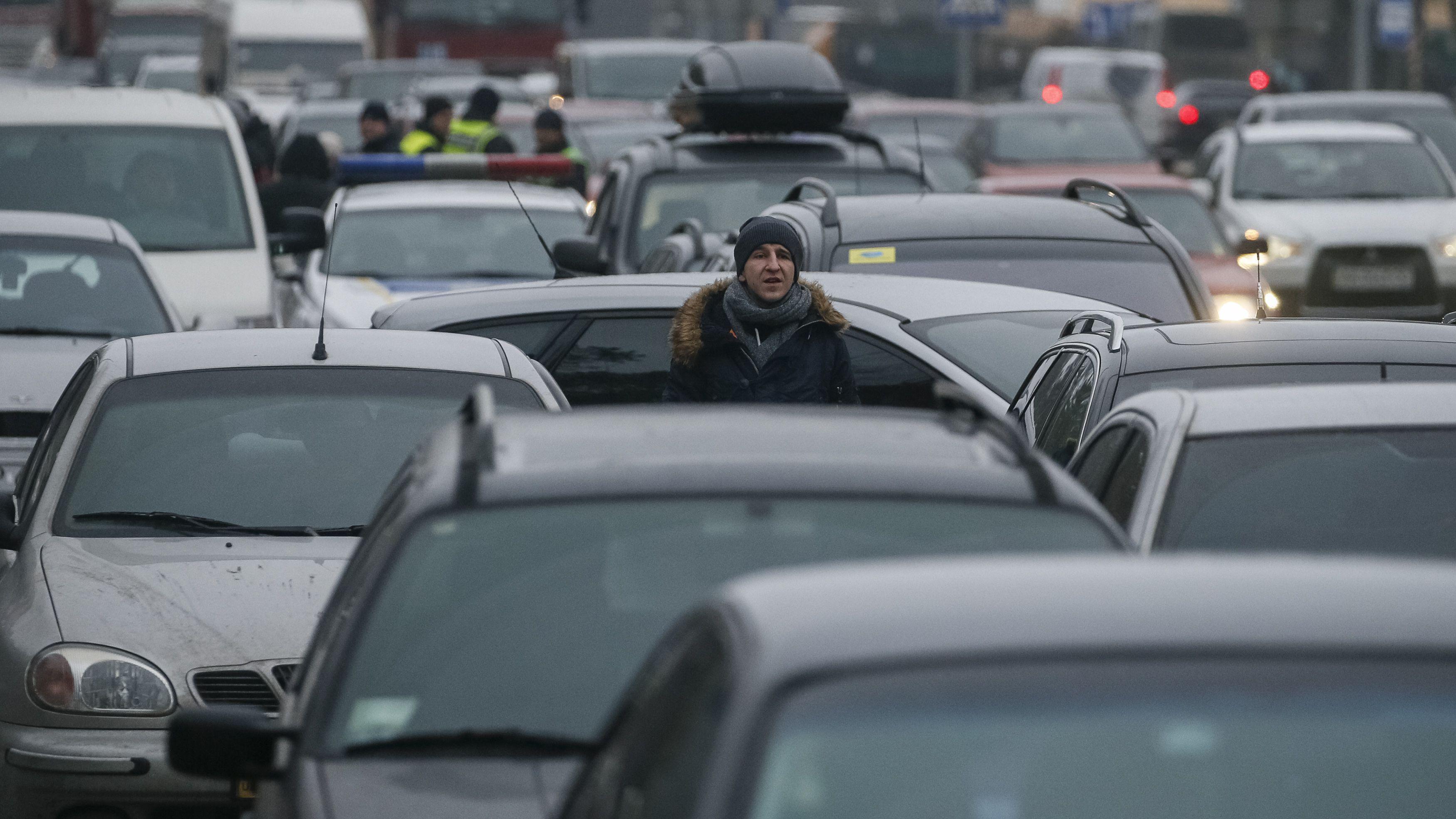 Man in traffic