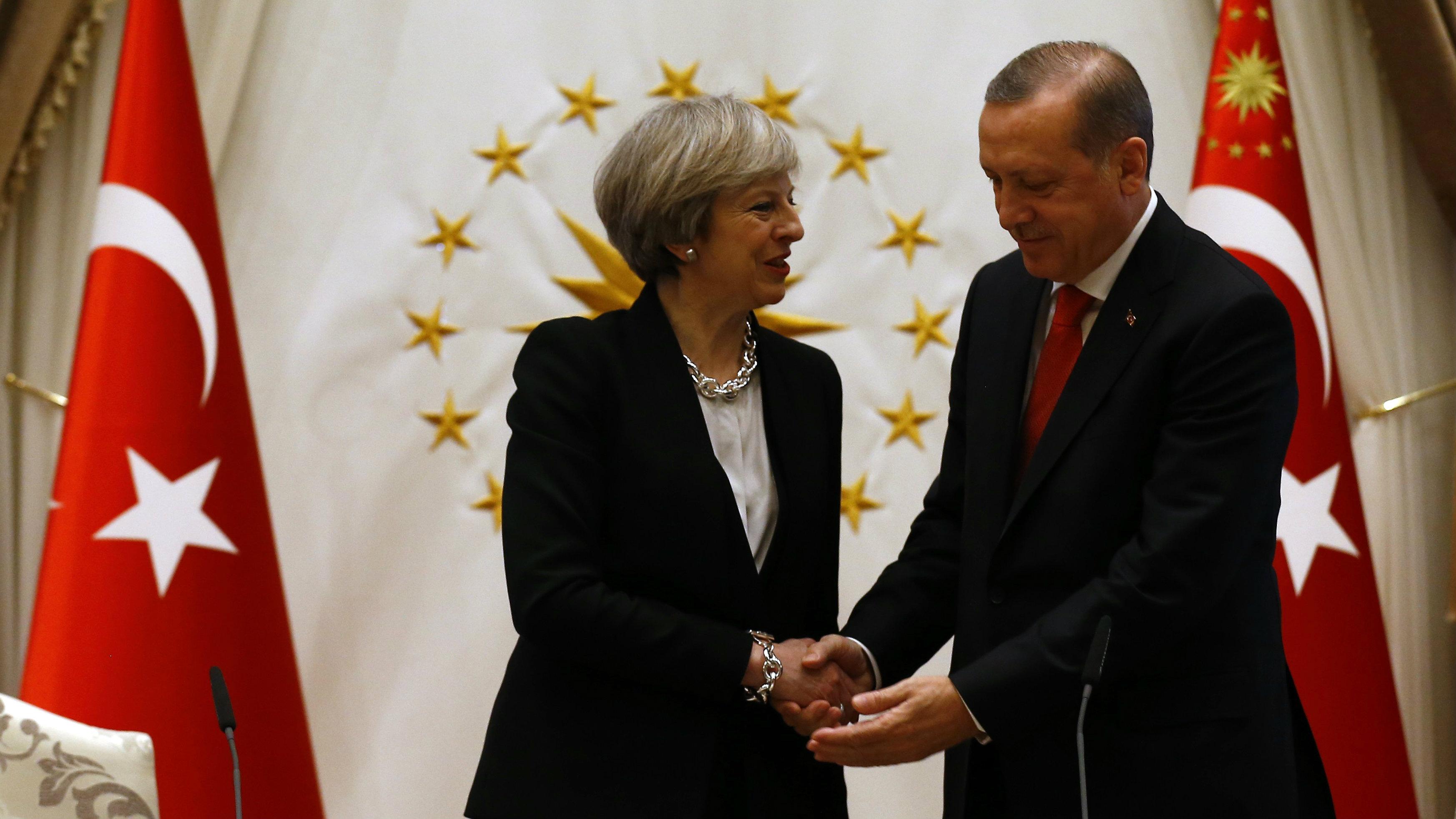 British Prime Minister Theresa May with Turkish President Recep Tayyip Erdogan