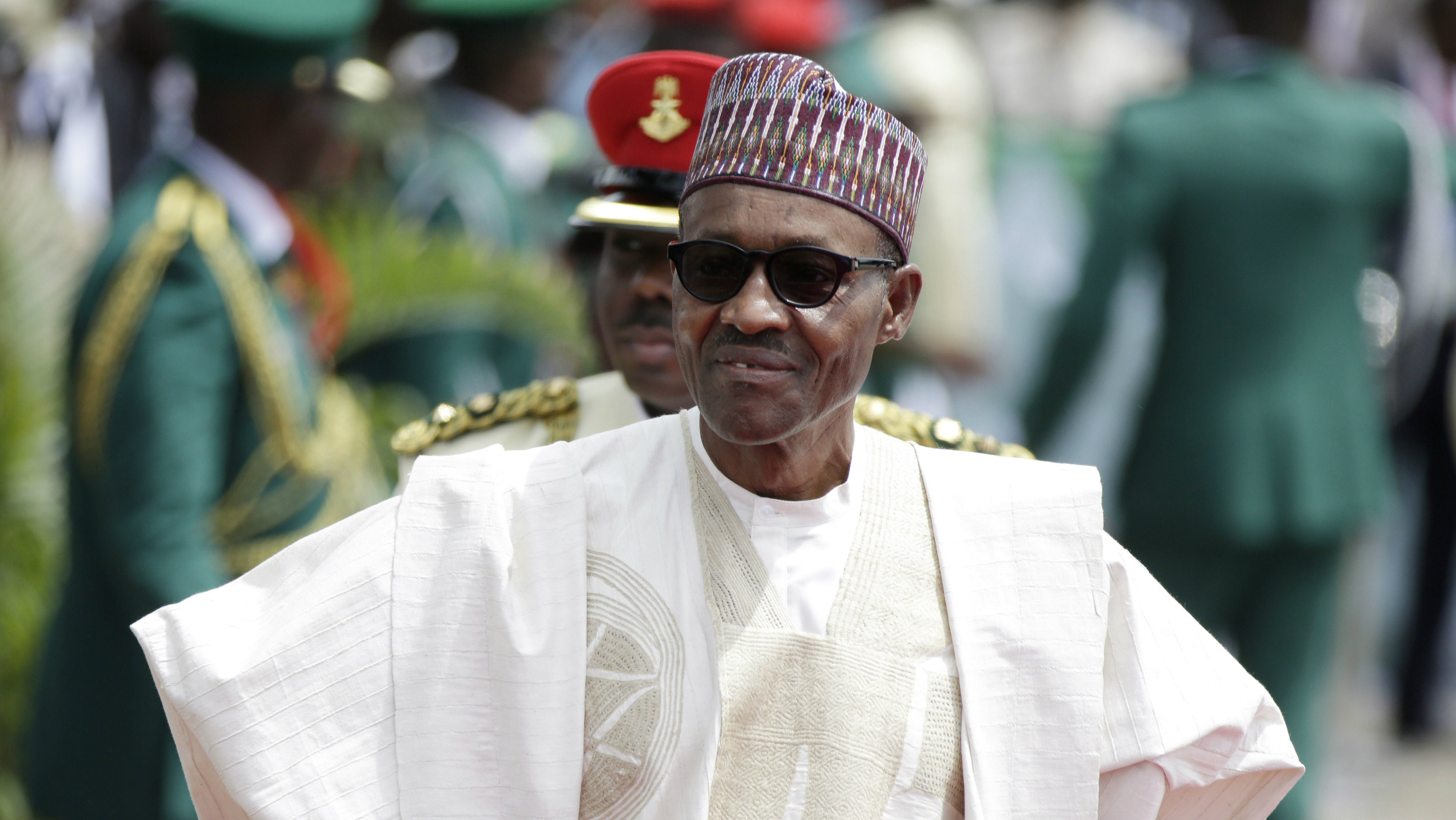 In this file photo taken Friday, May 29, 2015, Nigerian President elect, Muhammadu Buhari, arrives for his Inauguration at the eagle square in Abuja, Nigeria. The Boko Haram extremist group has finally been crushed — driven from its last forest enclave with fighters on the run and no place to hide, Nigeria's president declared Saturday, Dec. 24, 2016.