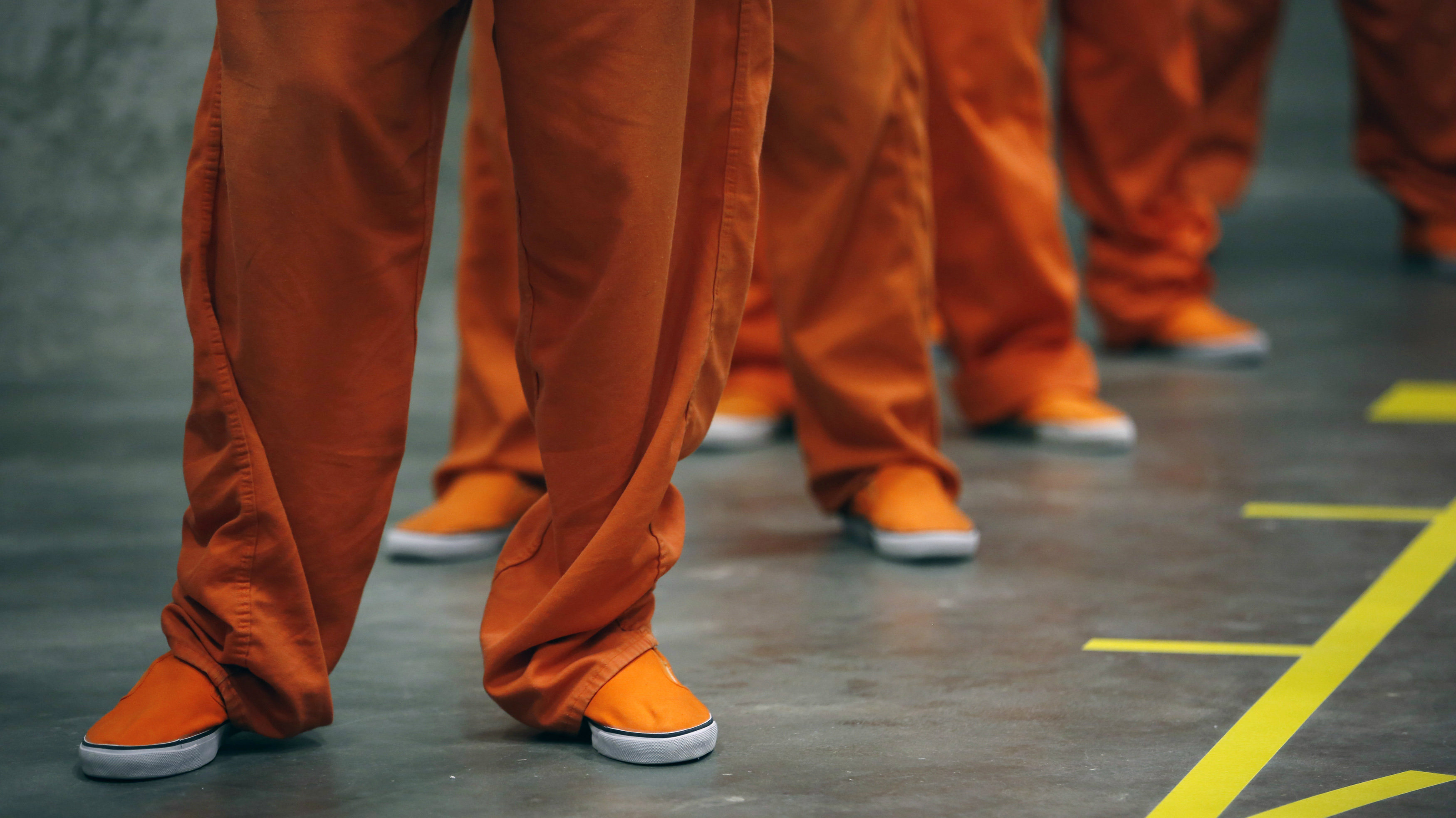 Prison inmates dance in opposition of violence against women on Valentine's Day in San Bruno