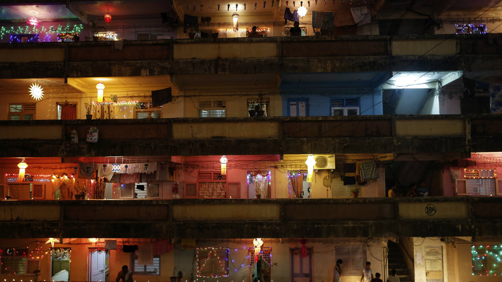 A chawl, or tenement of tiny, inexpensive apartments, in Mumbai.