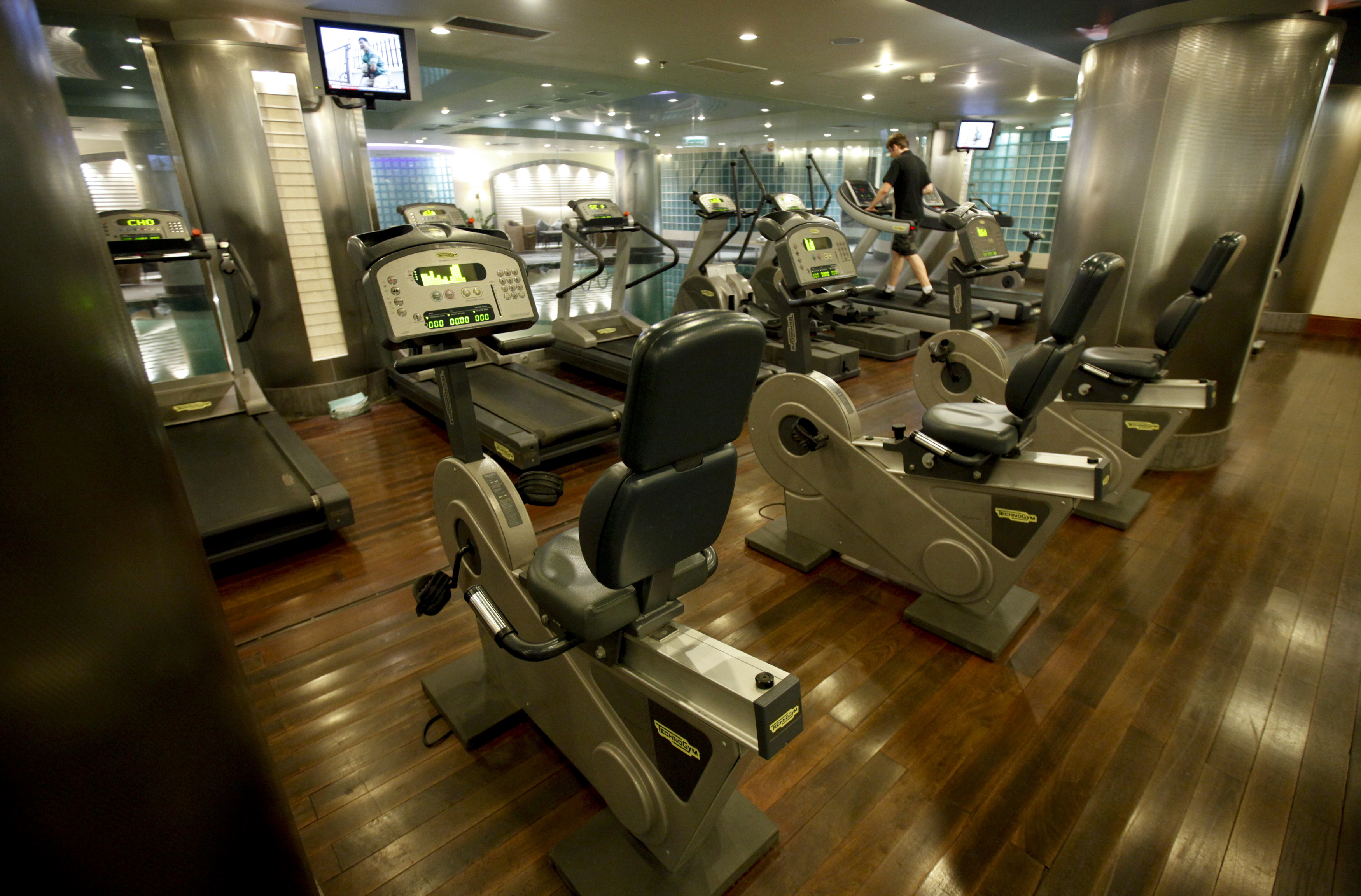 A view of a gym at the spa facility at the Hyatt Regency Hotel in Warsaw