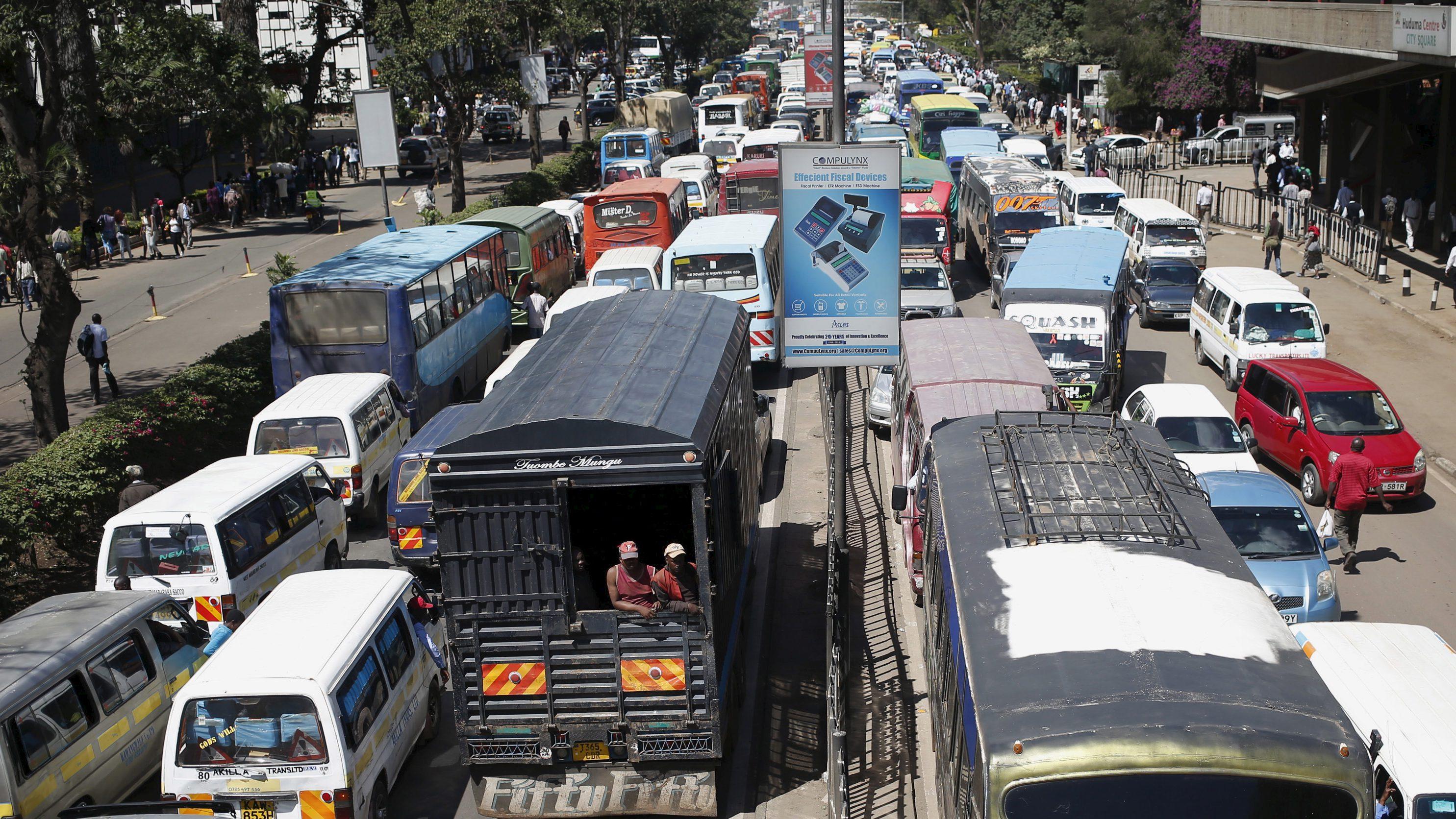 Traffic stands still in Nairobi.