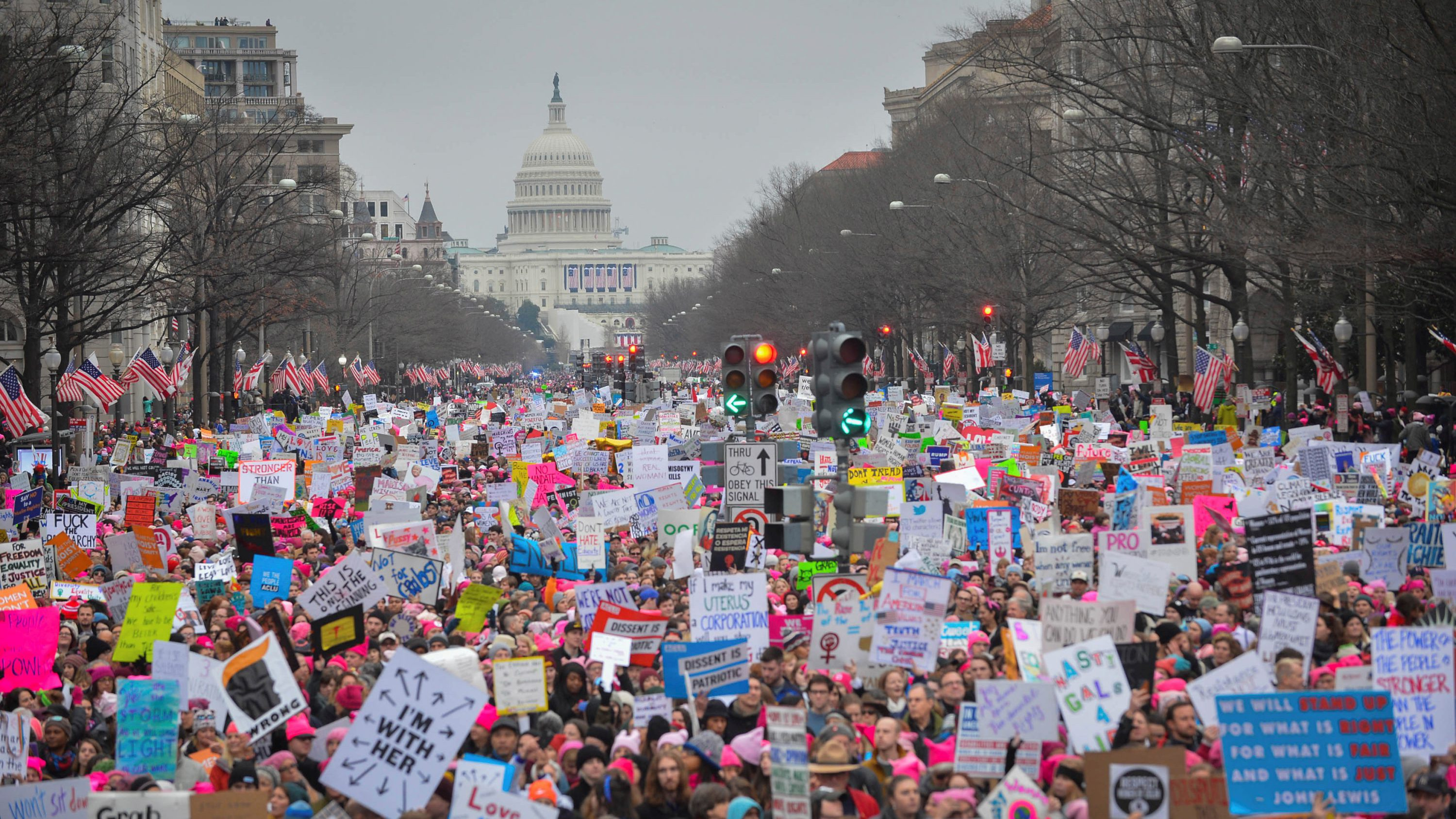 Hundreds of thousands march down Pennsylvania Avenue during the Women's March in Washington, DC, U.S., January 21, 2017.