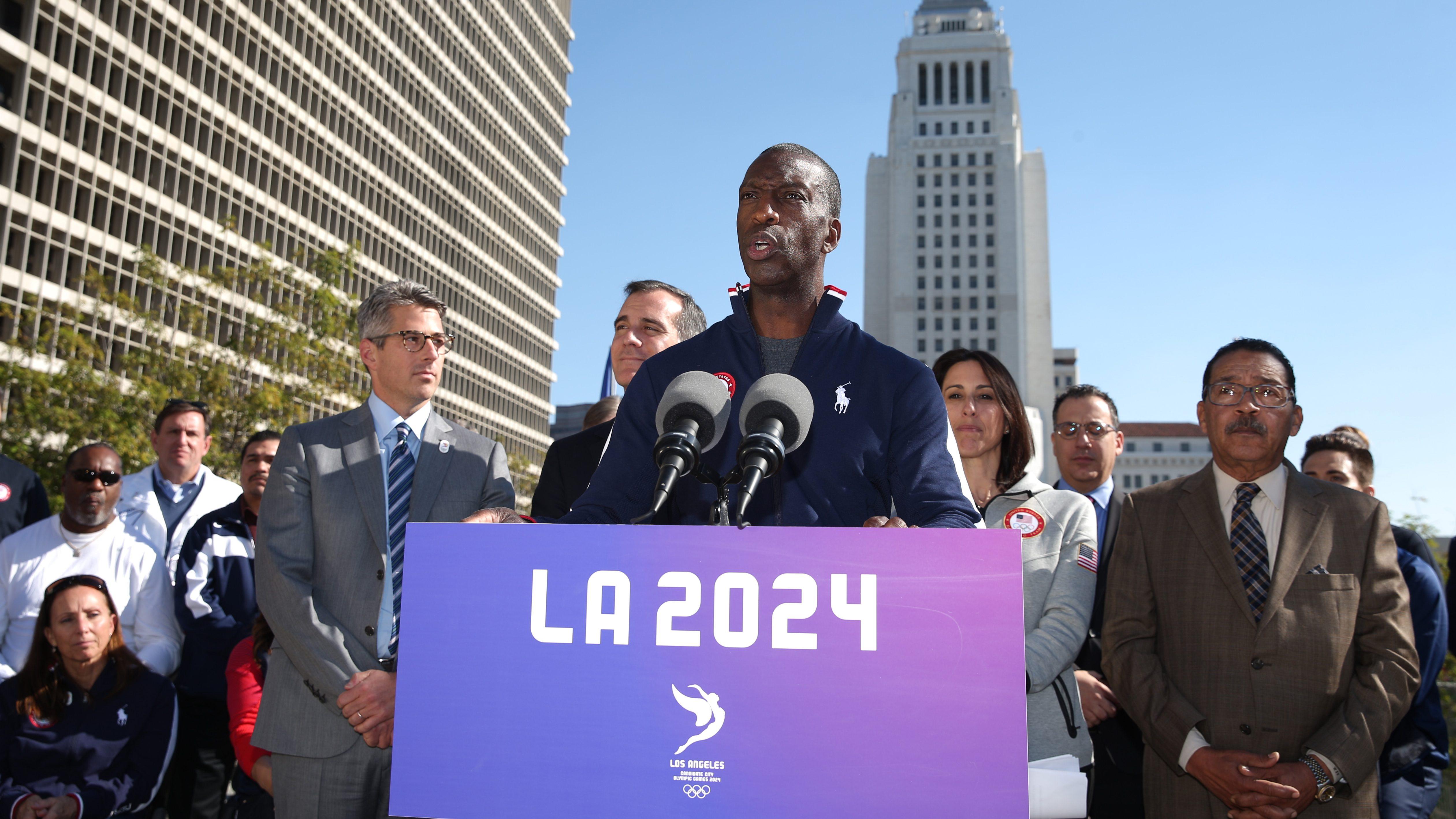 Michael Johnson at LA 2024 Olympics bid opening