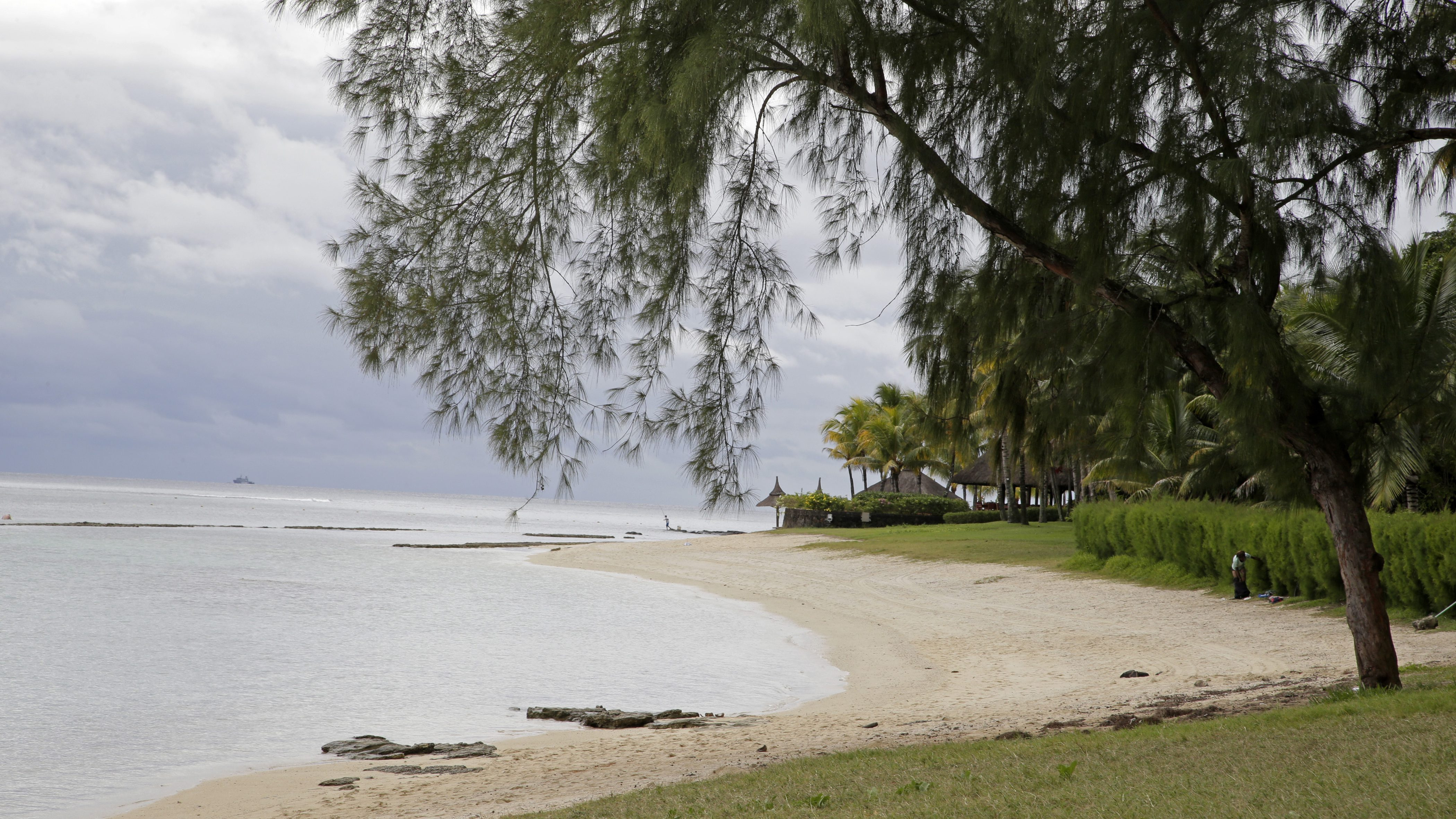 View of the Pointe aux Piments beach on the Indian Ocean island Mauritius