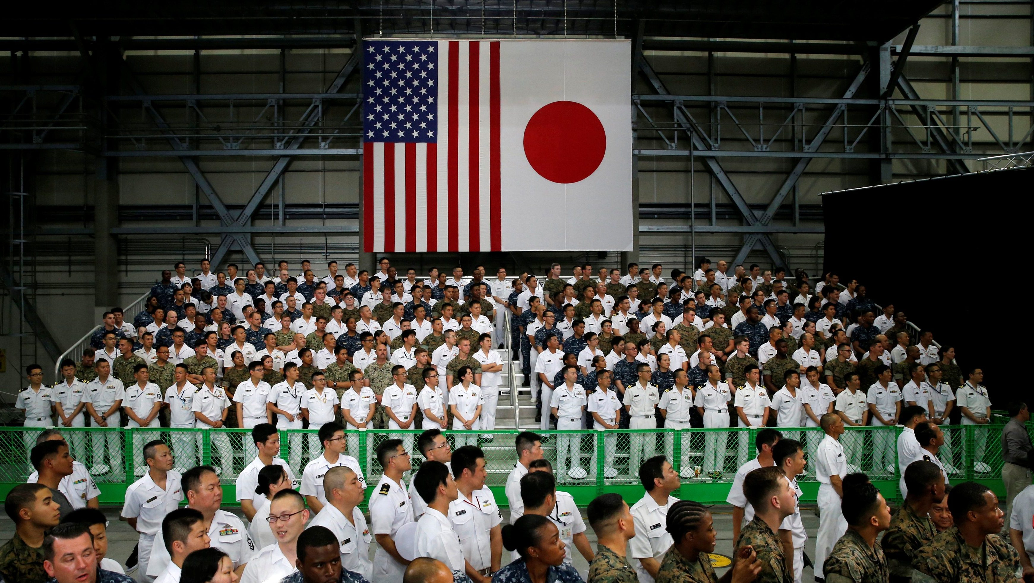 U.S. and Japan Self-Defence Force's soldiers listen a speech by U.S. President Barack Obama during his visits at Iwakuni Marine Corps Air Station, enroute to Hiroshima, Japan May 27, 2016.