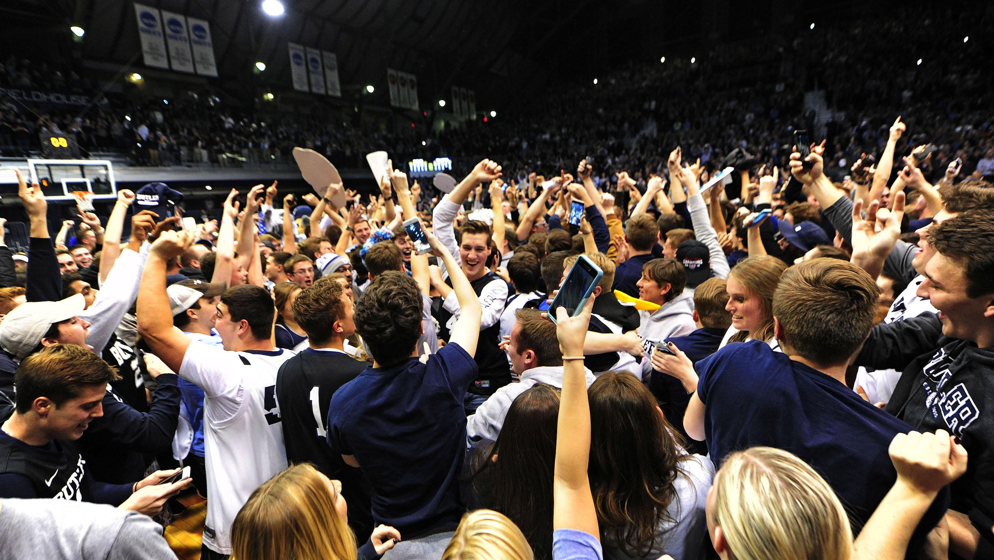 Jan 4, 2017; Indianapolis, IN, USA;  Butler University students celebrate moments after defeating Villanova University 66-58 at Hinkle Fieldhouse. Mandatory Credit: Thomas J. Russo-USA TODAY Sports - RTX2XKUA