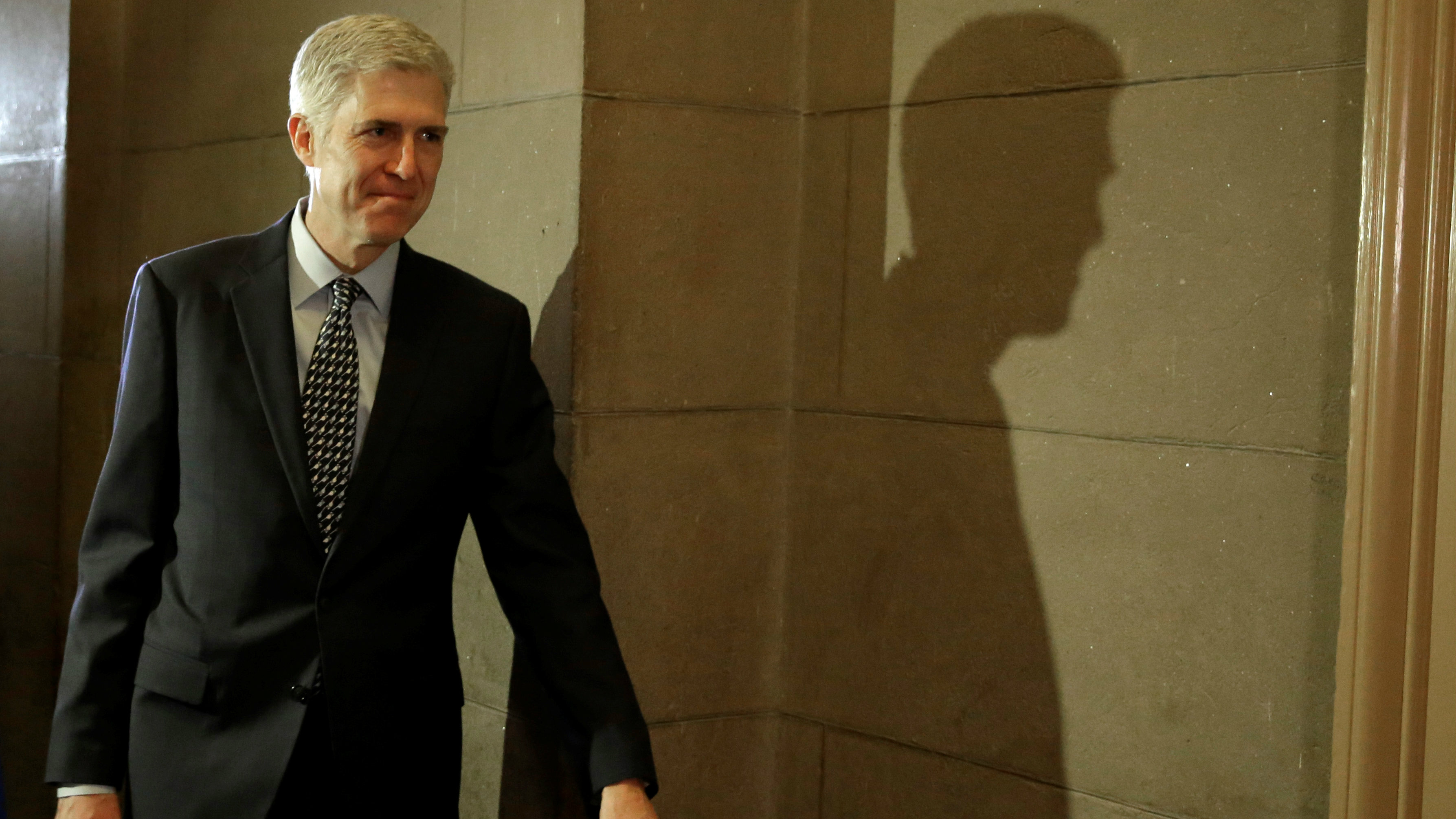 U.S. Supreme Court nominee Judge Neil Gorsuch arrives for a meeting with Senator Ted Cruz (R-TX) on Capitol Hill in Washington, U.S., February 2, 2017.