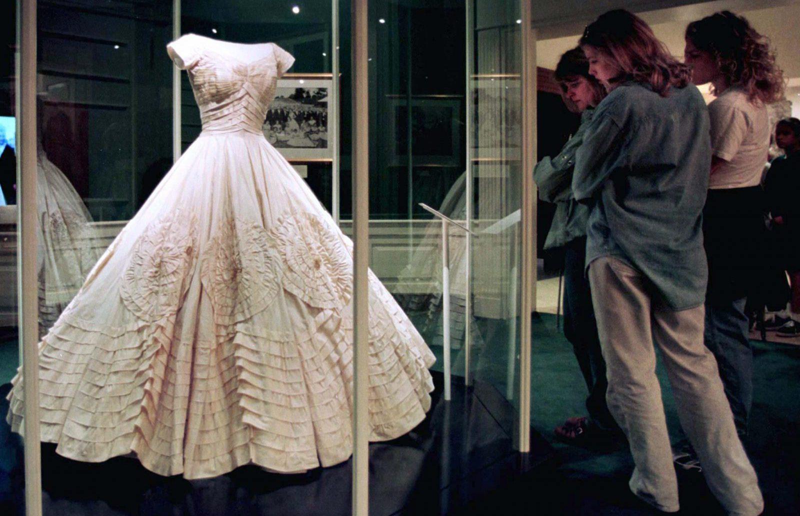 Black history month important black fashion designers quartz visitors to the john f kennedy library museum admire jacqueline bouvier kenndeys wedding dress in junglespirit Choice Image