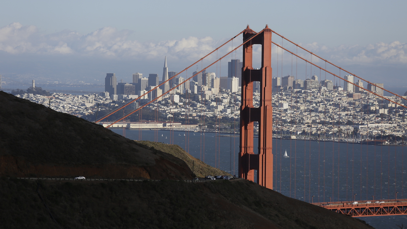 This  Oct. 28, 2015, photo shows the Golden Gate Bridge and San Francisco skyline from the Marin Headlands above Sausalito, Calif. The Golden Gate Bridge is only 1.7 miles (2.7 kilometers) long, but its appeal spans the world. You can drive, bike or walk across to the Marin Headlands.  (AP Photo/Eric Risberg)