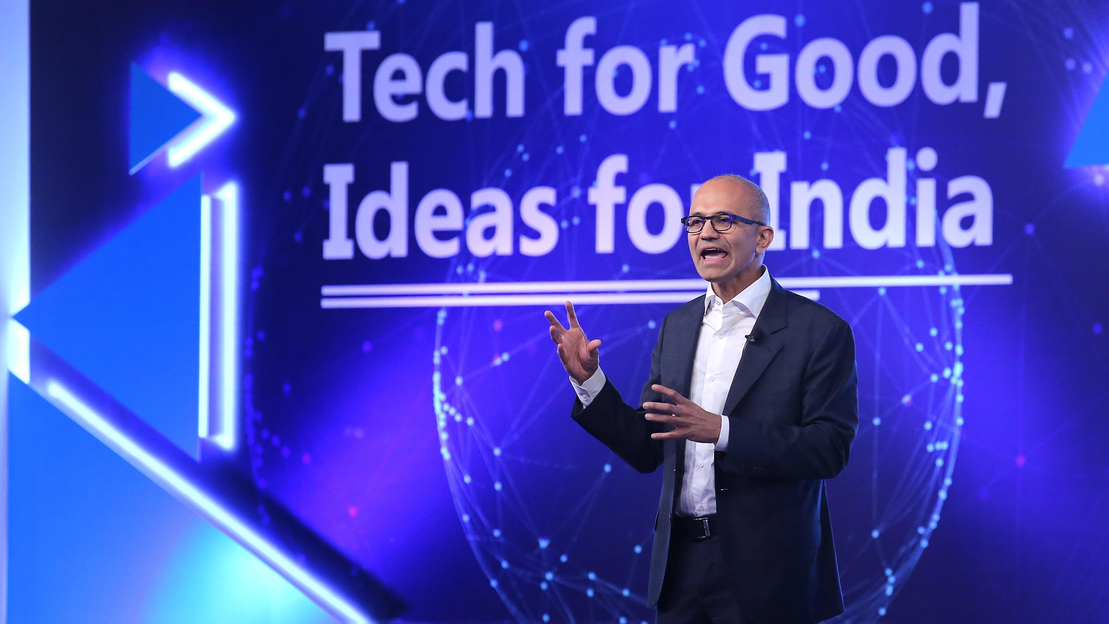 Chief Executive Officer of Microsoft Satya Nadella in India