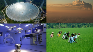 A telescope being built in China, a coal burning plant, a cutting-edge operating room, and farmers applying pesticides to a field.
