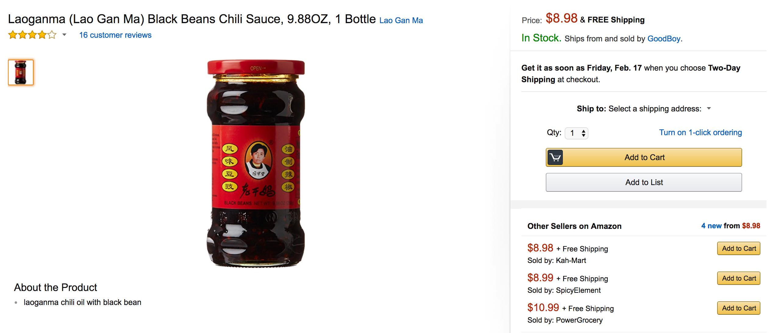 The Lao Gan Ma sauce sold on Amazon.