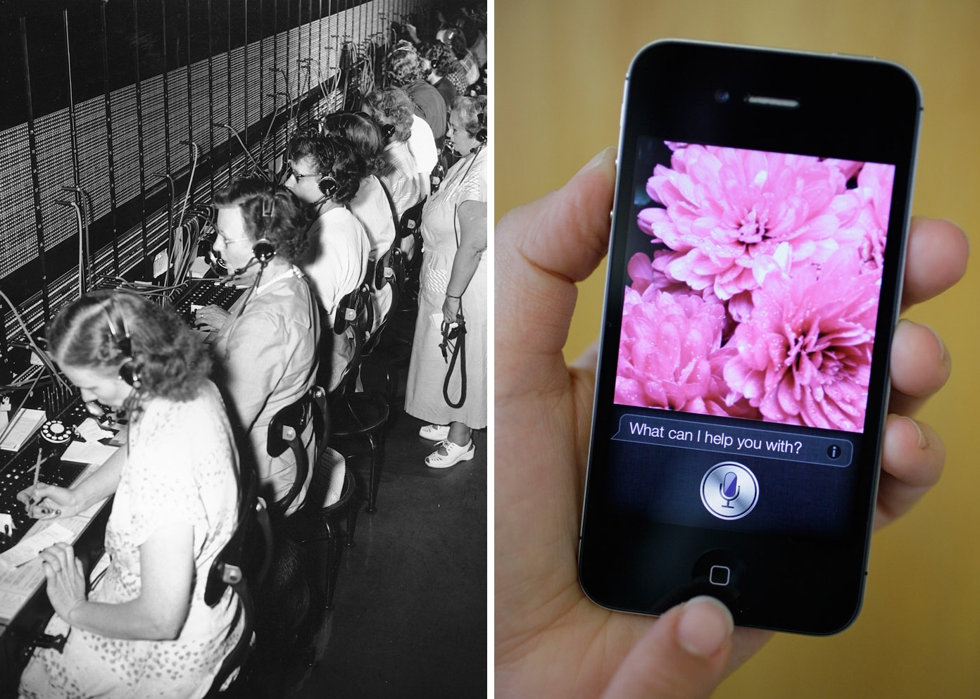 Picture of telephone operators and Siri iPhone
