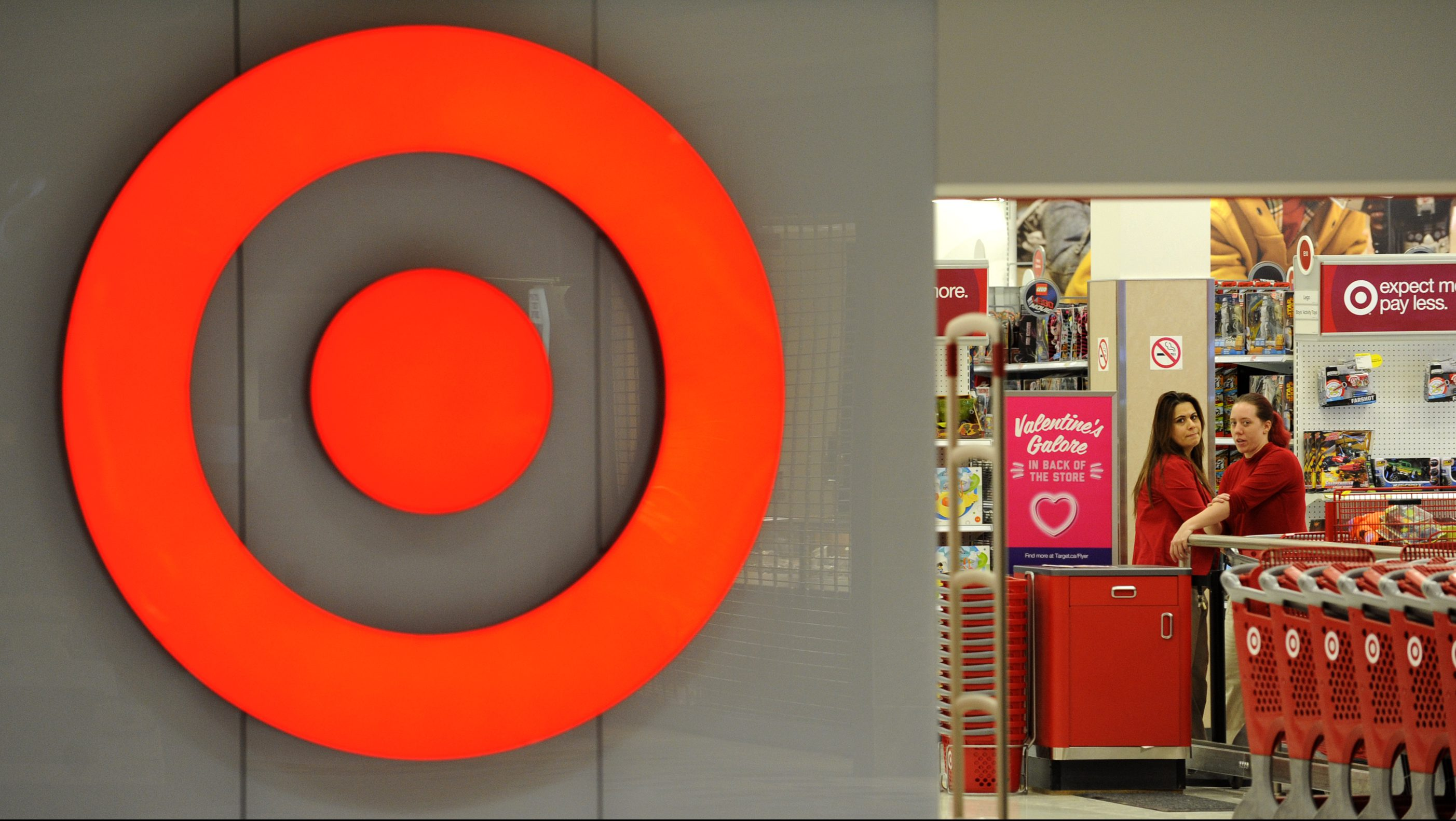 Employees work at a Target store at St. Albert, Alberta, January 15, 2015.