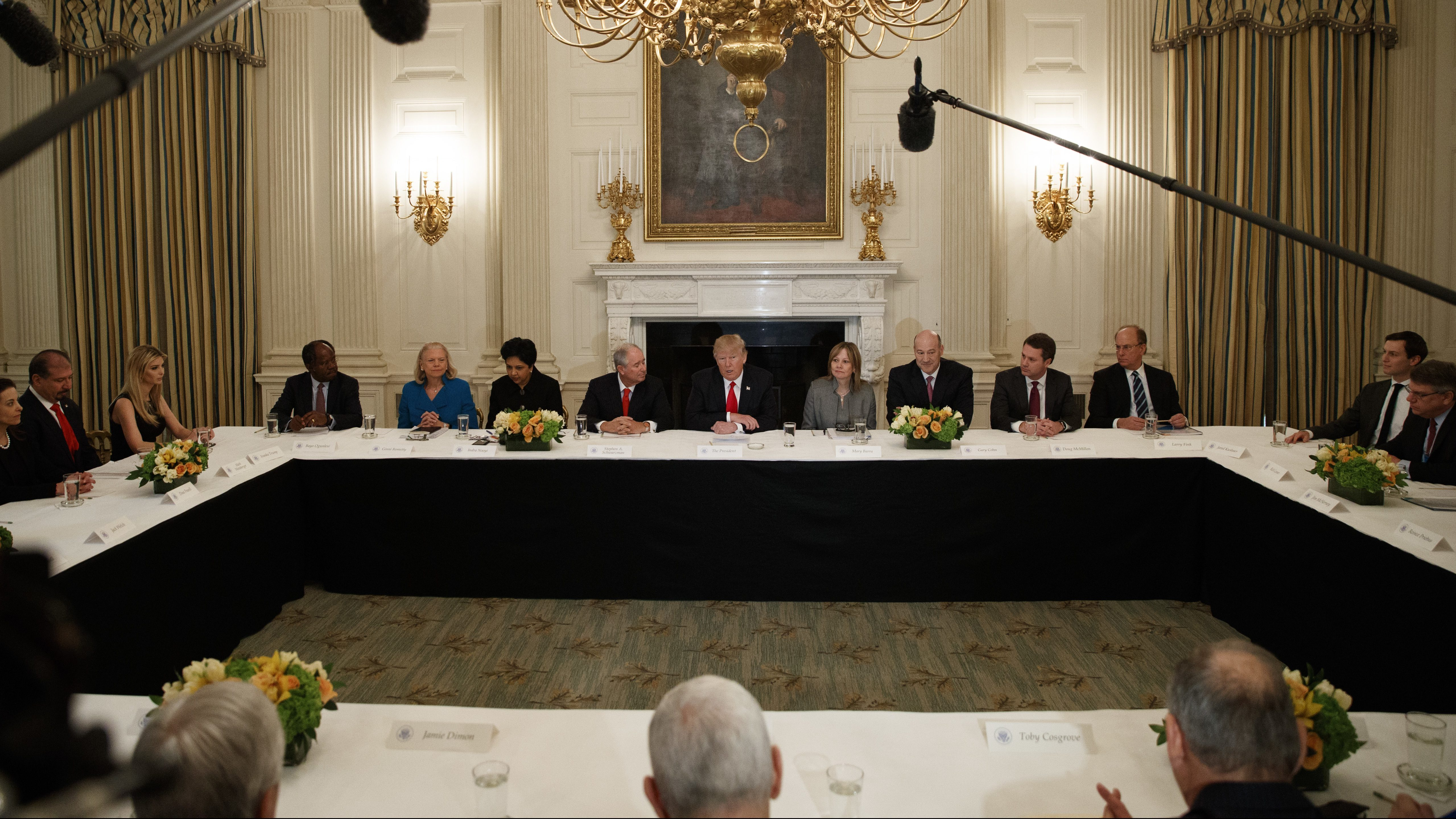 President Donald Trump speaks during a meeting with business leaders in the State Dining Room of the White House in Washington, Friday, Feb. 3, 2017.