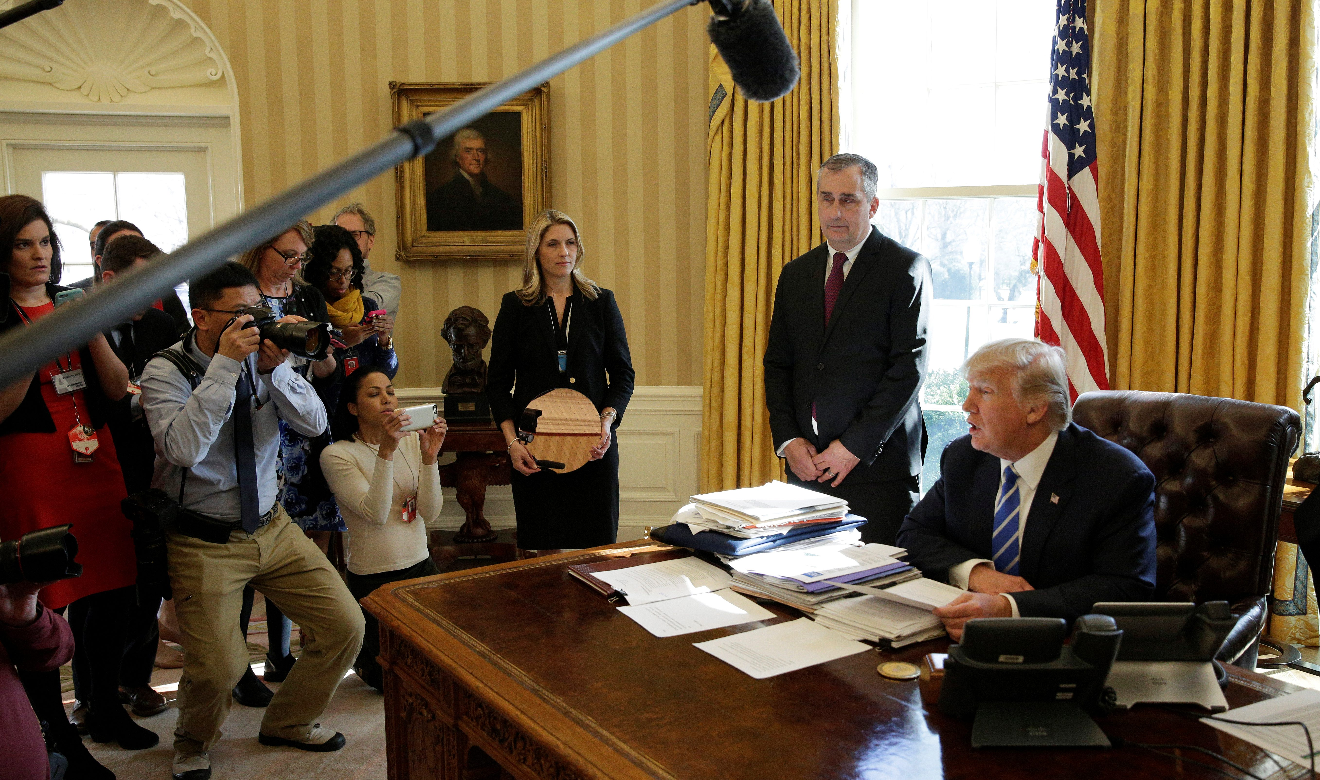 U.S. President Donald Trump meets with Chief Executive Officer of Intel Brian Krzanich in the Oval Office of the White House in Washington, U.S., February 8, 2017.