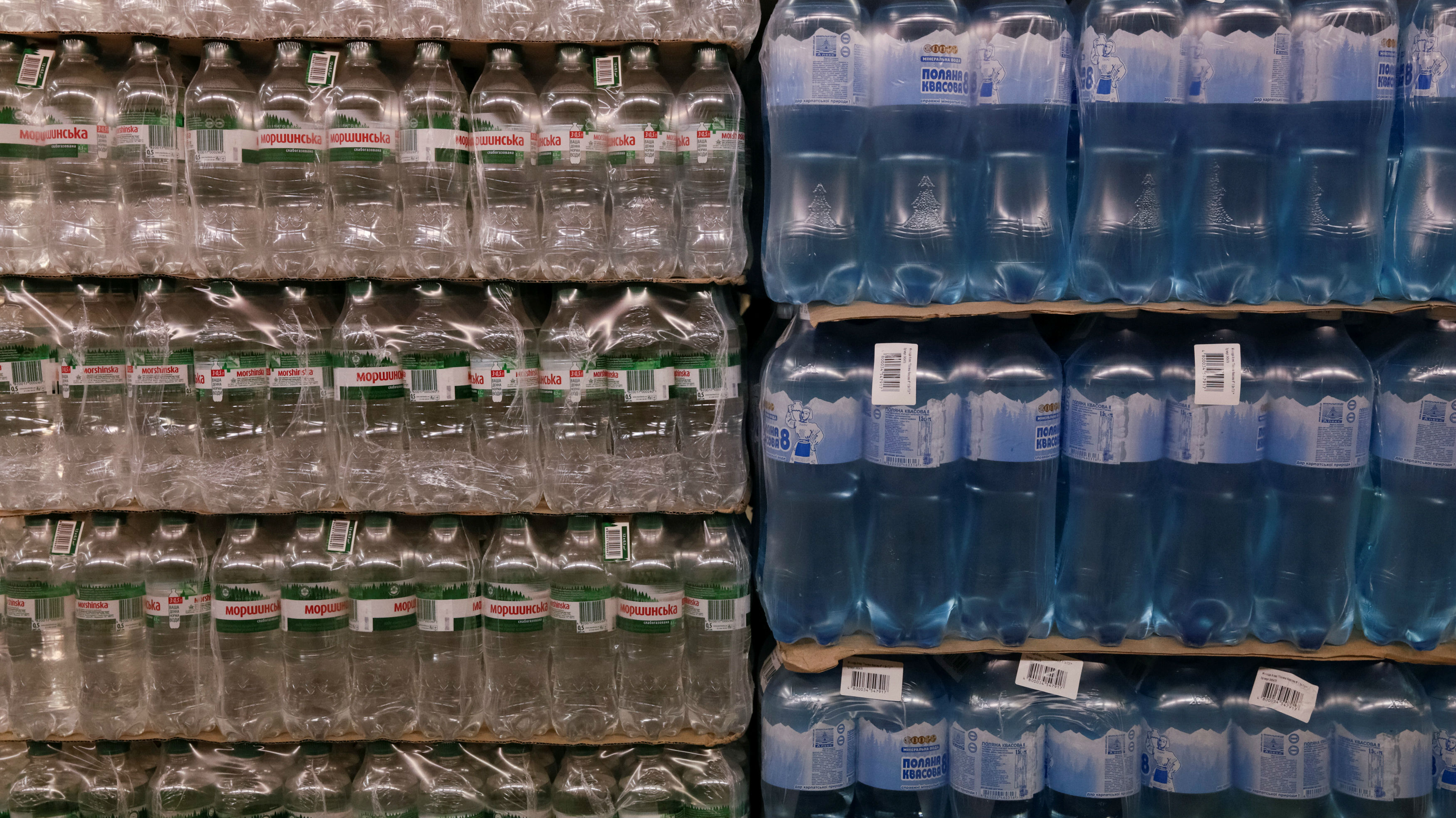 Packs of bottled water for sale are pictured at Metro Cash and Carry store  in Kiev