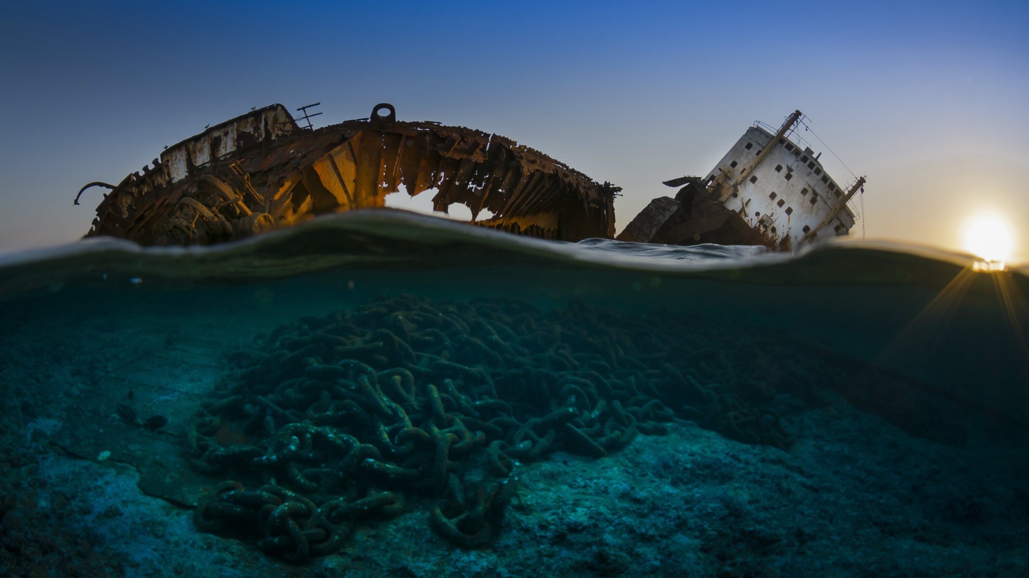 This is the wreck of the Louilla resting on top of Gordon reef in the Straits of Tiran on the edge of the Sinai. Beneath her lies a pile of her anchor chains.